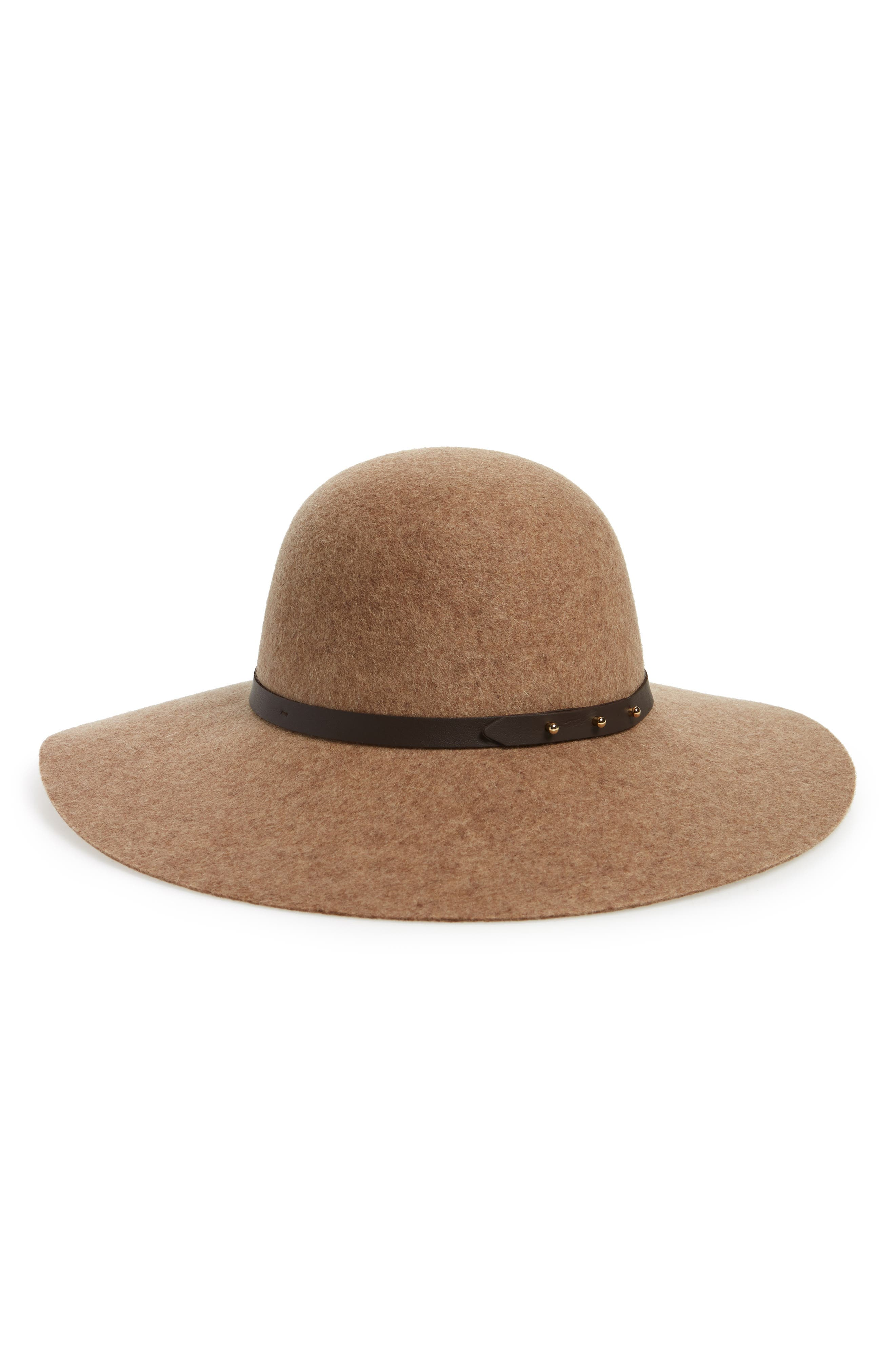 HALOGEN<SUP>®</SUP>, Refined Wide Brim Wool Floppy Hat, Main thumbnail 1, color, 235