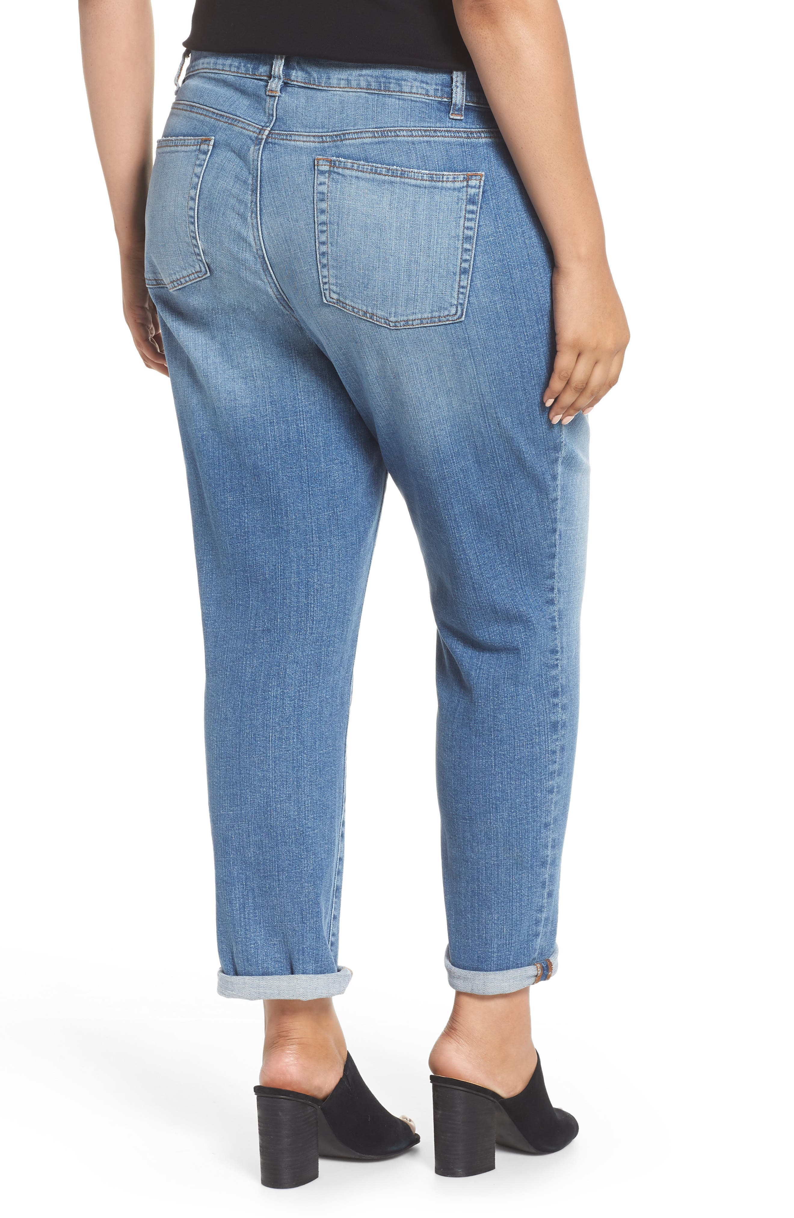 EILEEN FISHER, Stretch Organic Cotton Boyfriend Jeans, Alternate thumbnail 2, color, ABRADED SKY BLUE