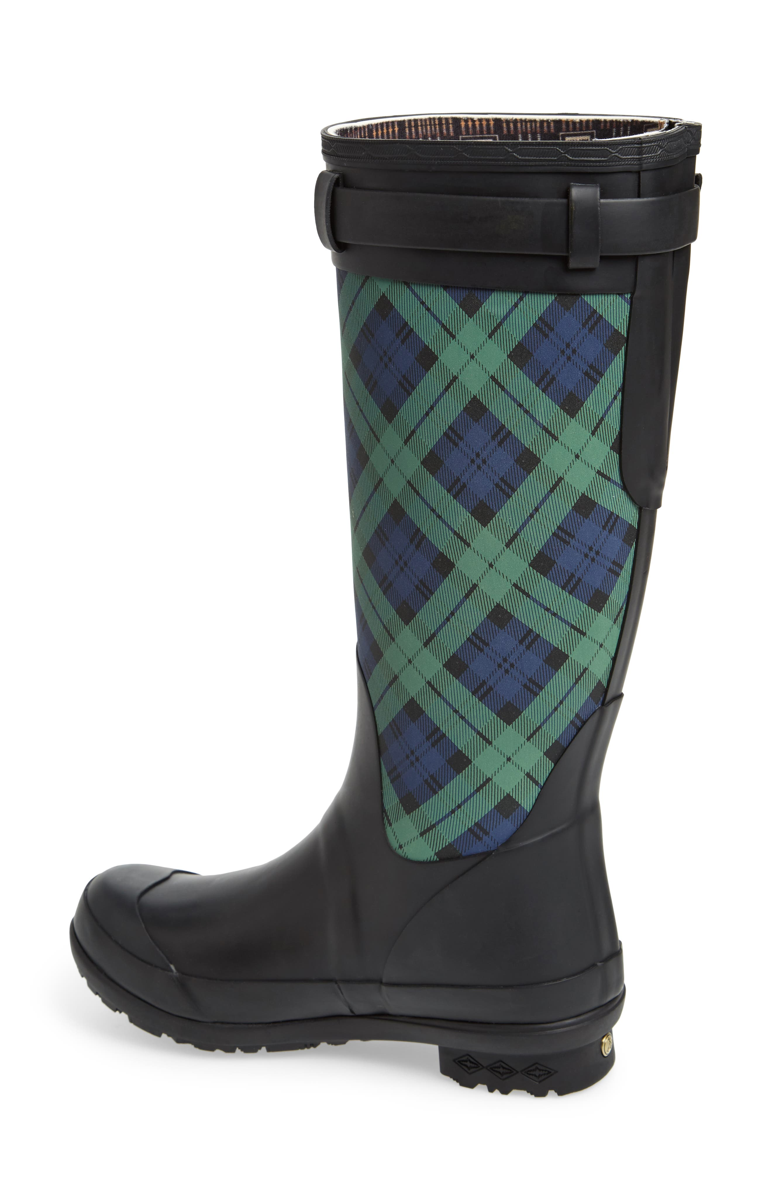 PENDLETON, Heritage Black Watch Tartan Tall Waterproof Boot, Alternate thumbnail 2, color, NAVY