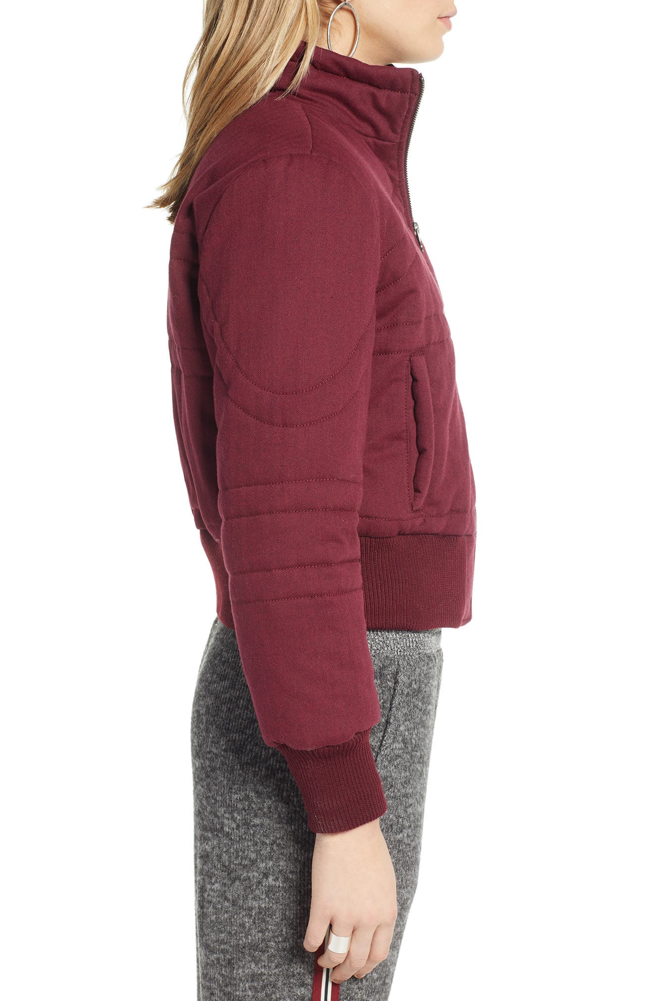 TREASURE & BOND, Flannel Crop Puffer Jacket, Alternate thumbnail 3, color, RED TANNIN HEATHER