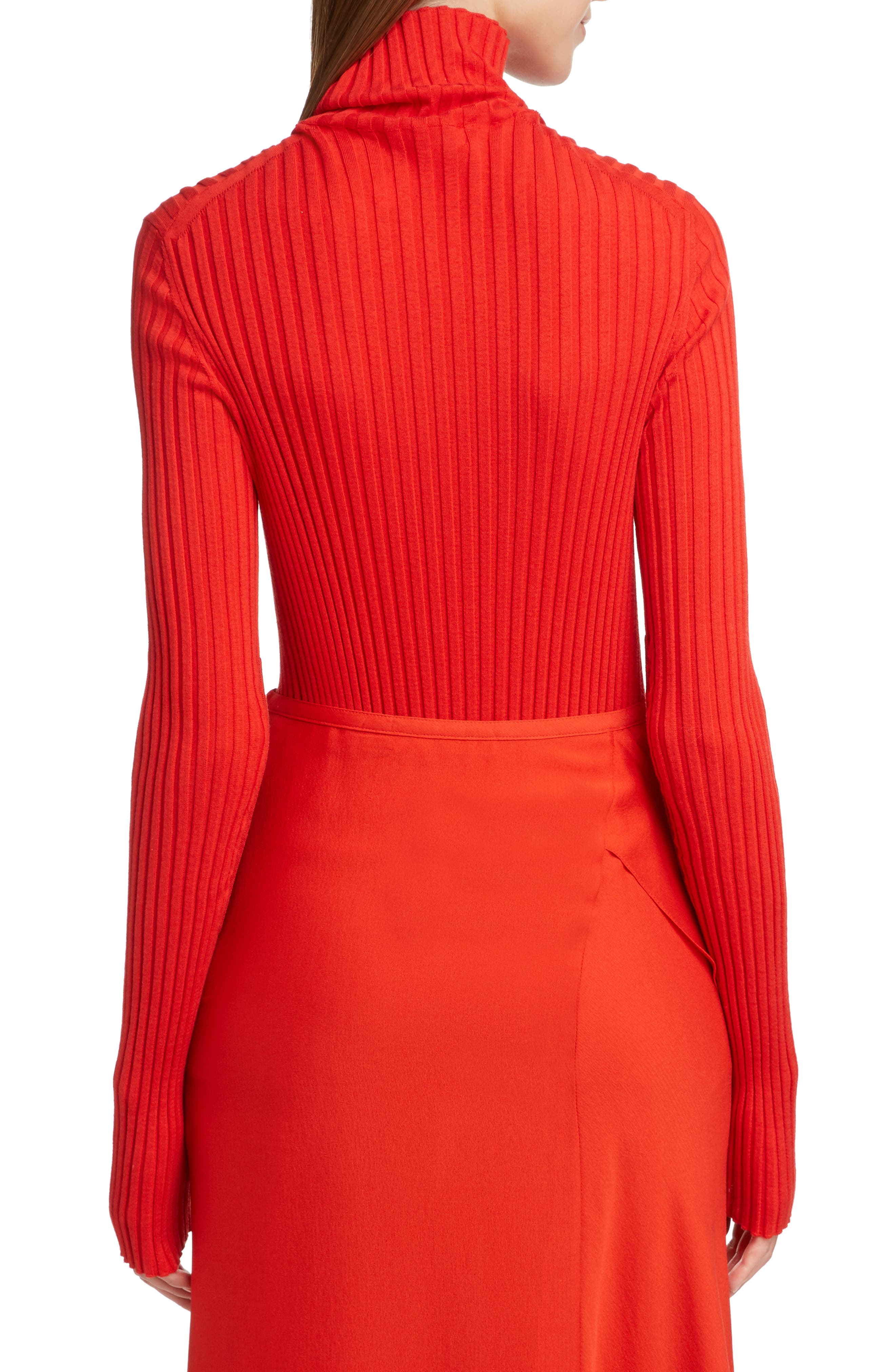 VICTORIA BECKHAM, Gathered Sleeve Rib Knit Turtleneck Sweater, Alternate thumbnail 2, color, BRIGHT RED