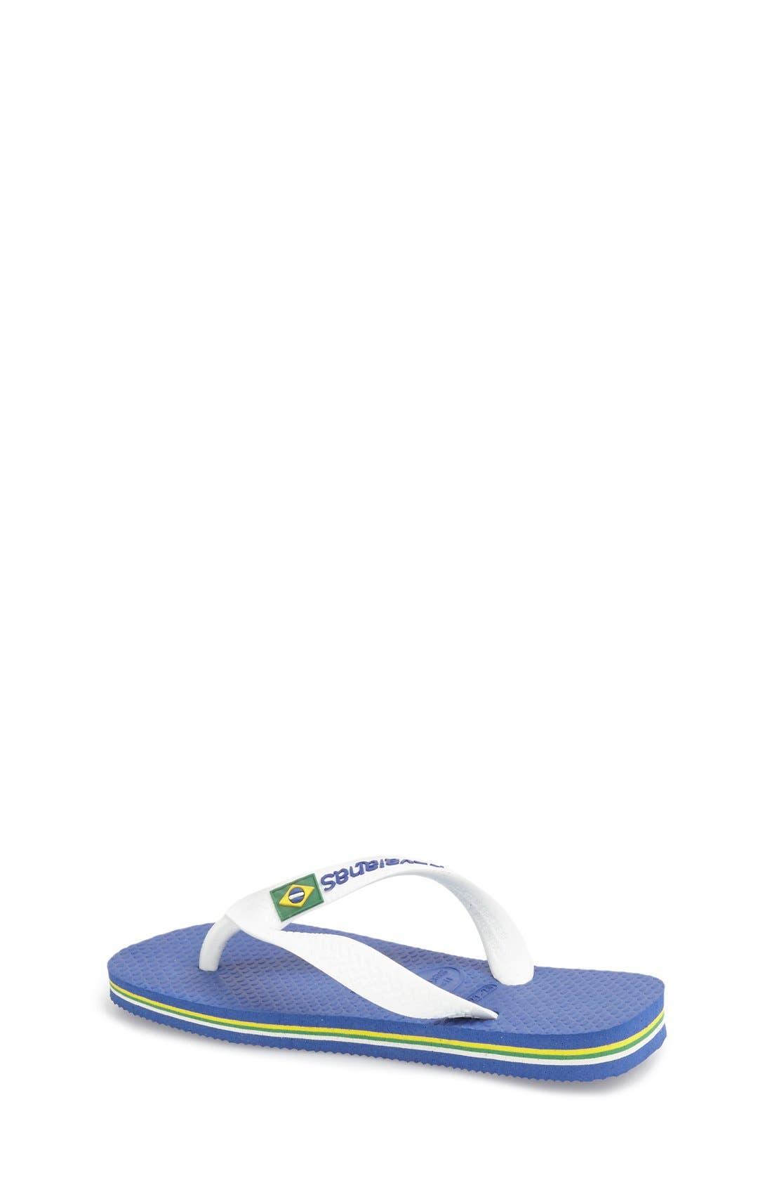 HAVAIANAS, 'Brazil Logo' Flip Flop, Alternate thumbnail 3, color, BLUE