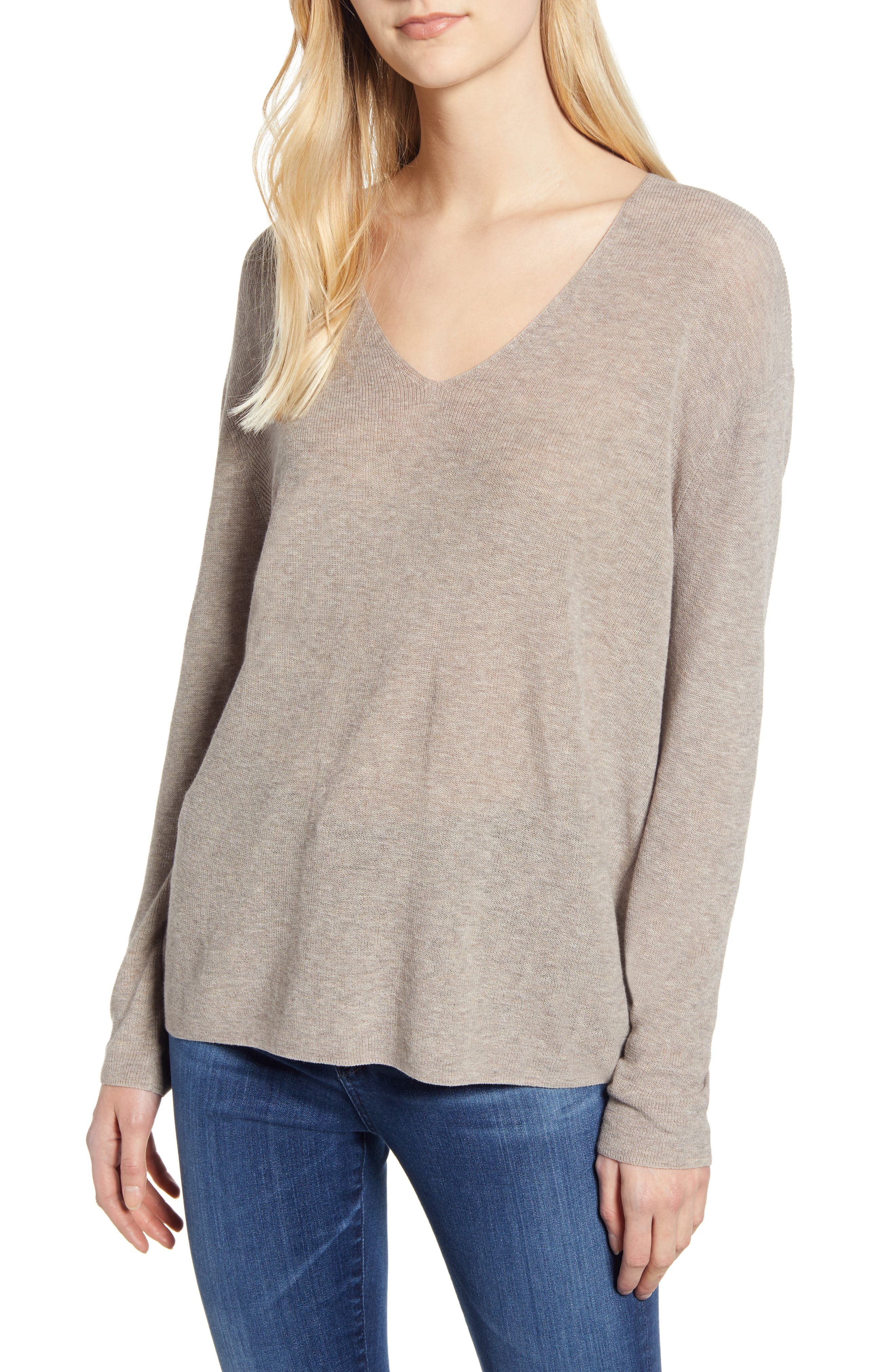 VELVET BY GRAHAM & SPENCER V-Neck Sweater, Main, color, FLAX