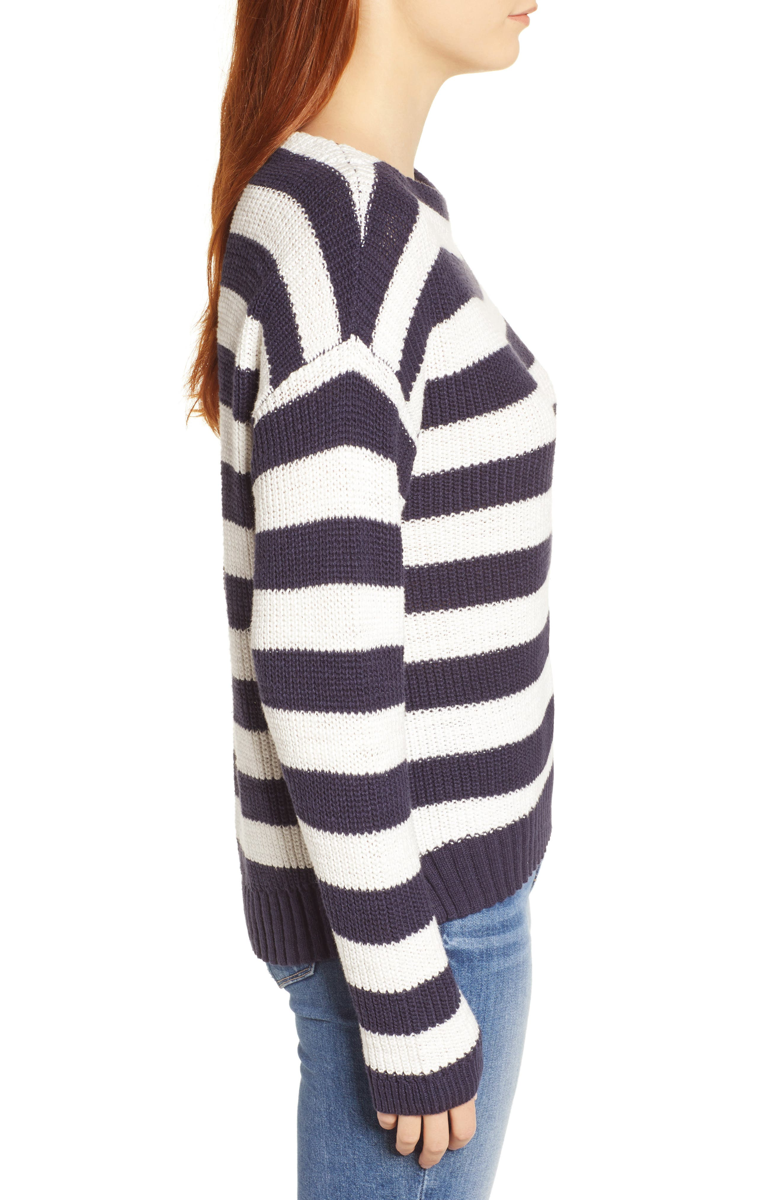 CASLON<SUP>®</SUP>, Boat Neck Pullover, Alternate thumbnail 3, color, NAVY STRIPE