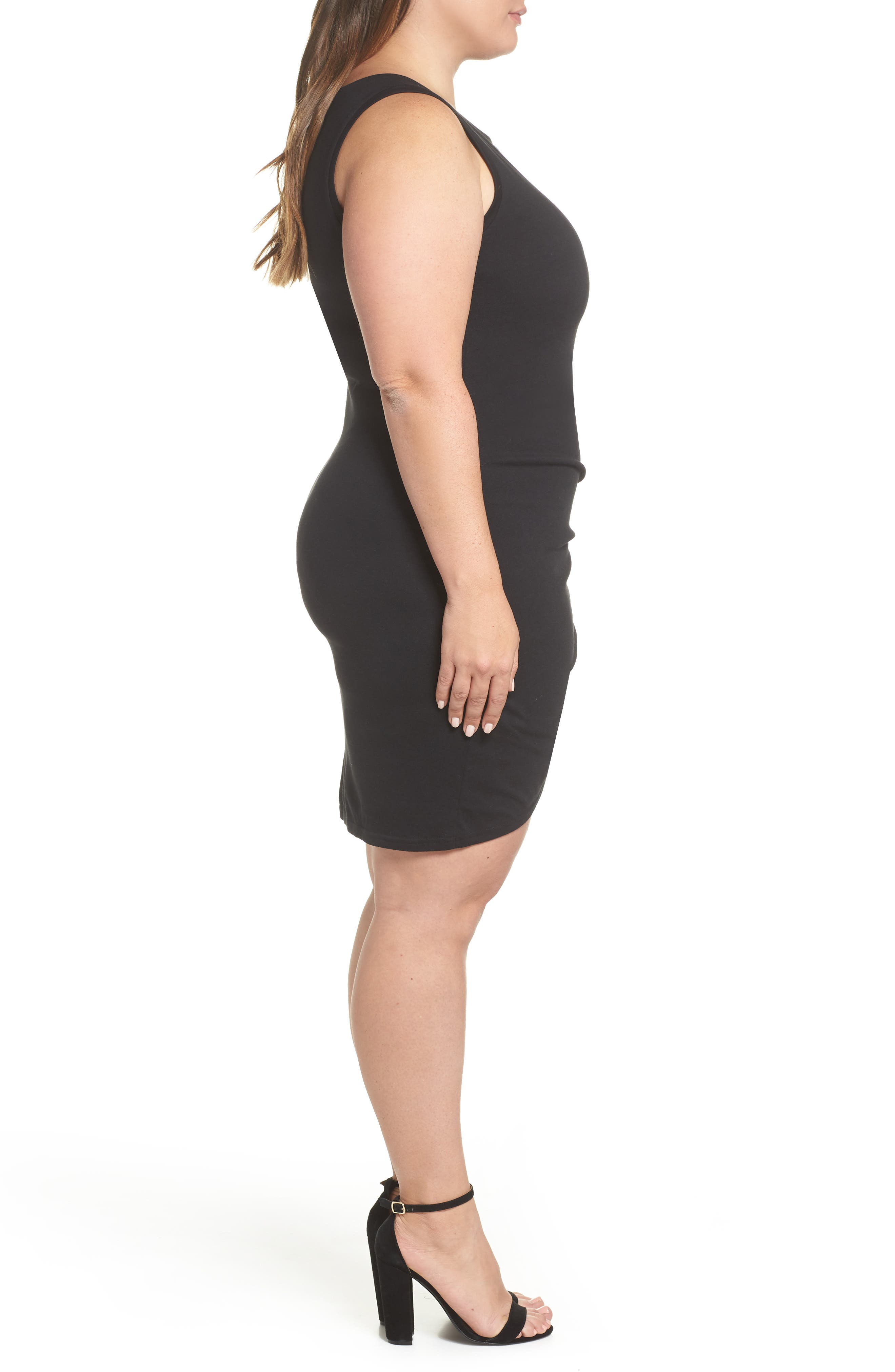 LEITH, Ruched Sheath Dress, Alternate thumbnail 4, color, BLACK