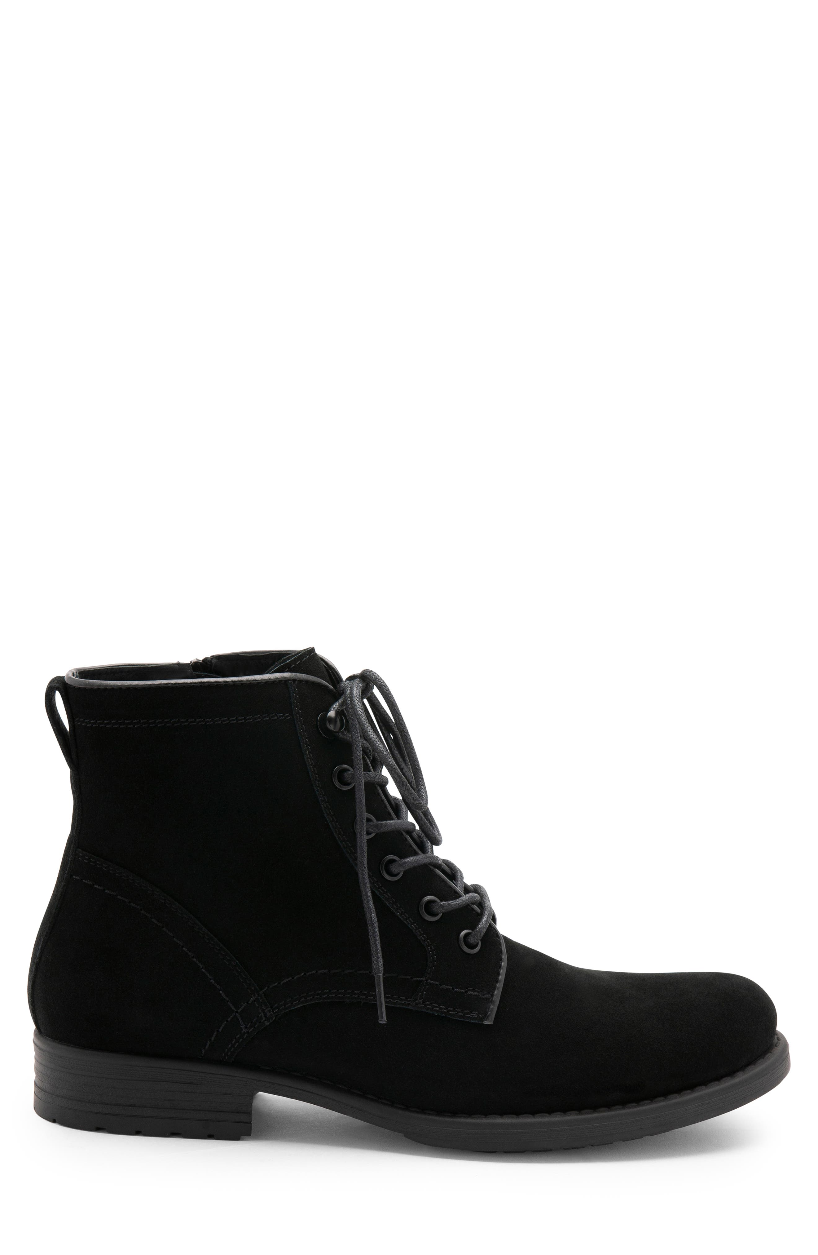 BLONDO, Peter Waterproof Plain Toe Boot, Alternate thumbnail 3, color, BLACK SUEDE