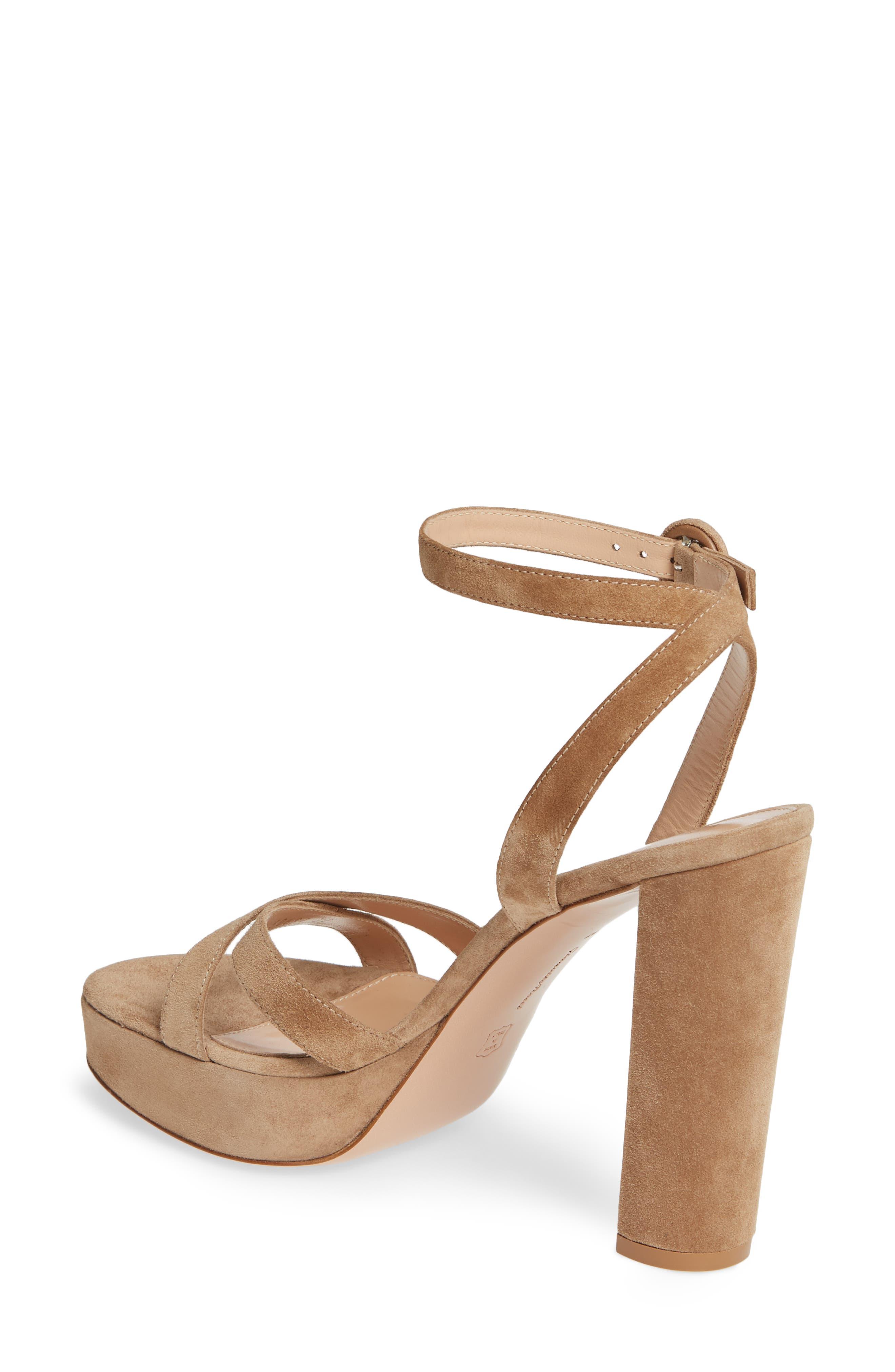 GIANVITO ROSSI, Ankle Strap Platform Sandal, Alternate thumbnail 2, color, CAMEL SUEDE