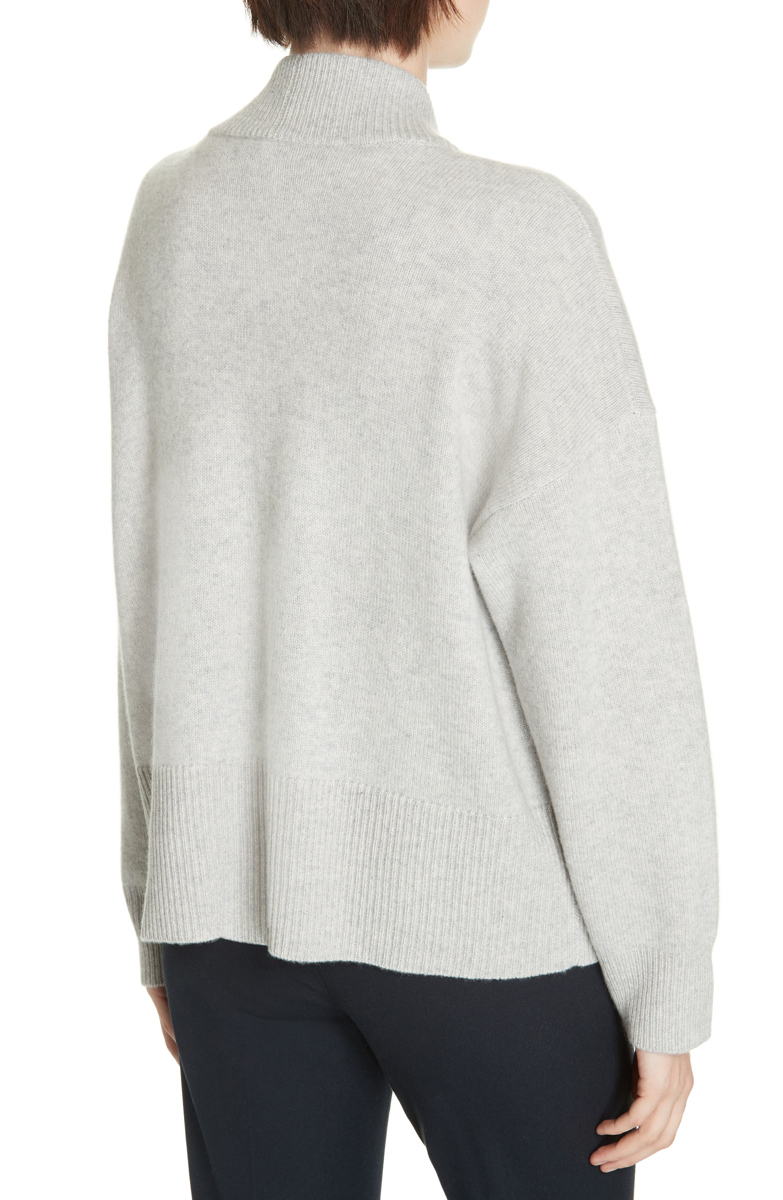 NORDSTROM SIGNATURE, Cashmere Blend Cardigan, Alternate thumbnail 2, color, GREY CLAY HEATHER