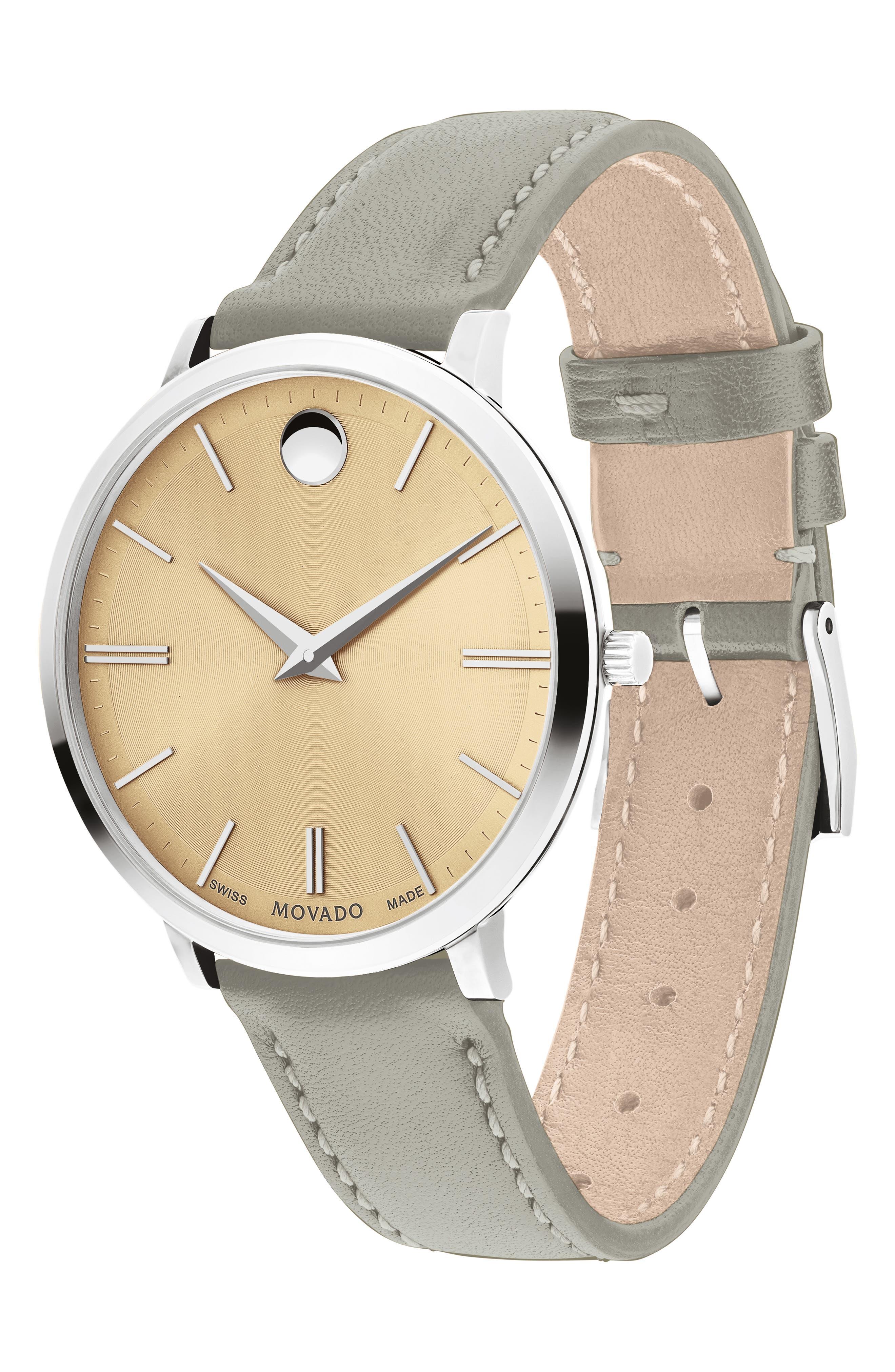 MOVADO, Ultraslim Leather Strap Watch, 35mm, Alternate thumbnail 3, color, GREY/ BEIGE/ SILVER