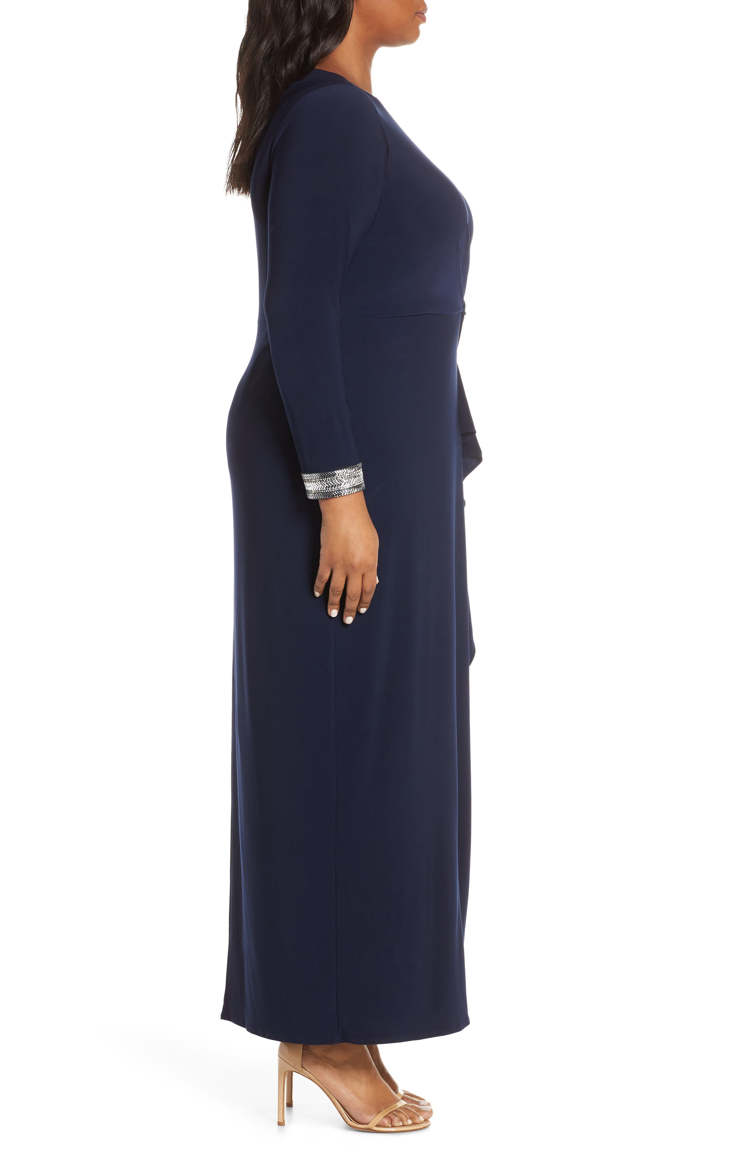 VINCE CAMUTO, Beaded Cuff Ruched Jersey Gown, Alternate thumbnail 4, color, NAVY