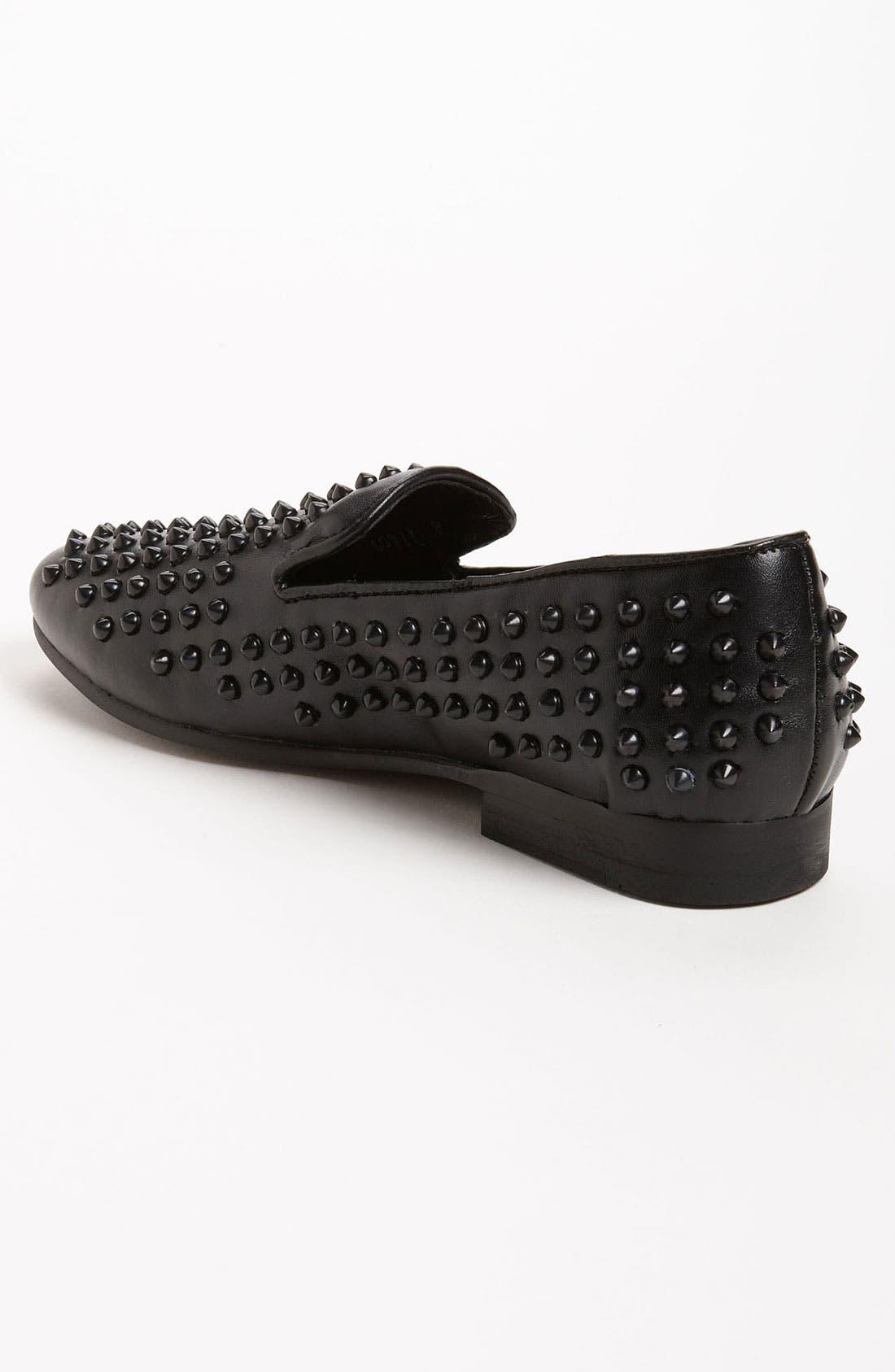 STEVE MADDEN, 'Jagggrr' Studded Loafer, Alternate thumbnail 2, color, 012