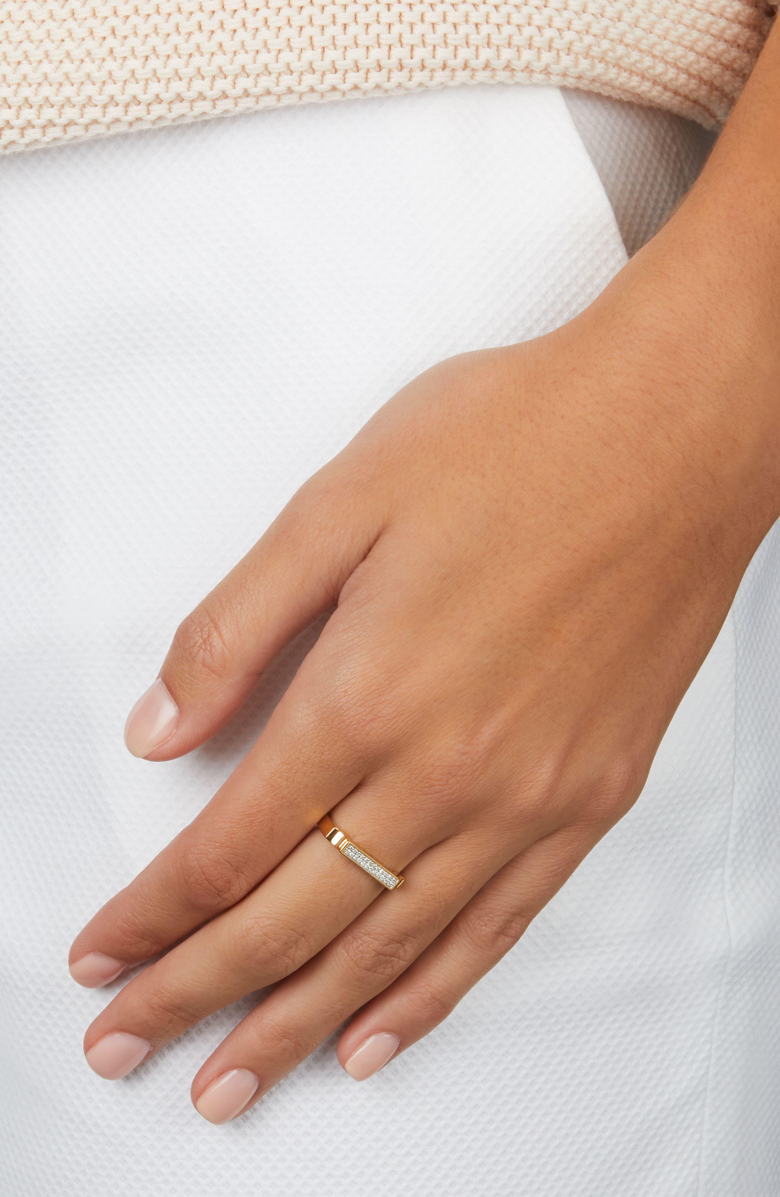 MONICA VINADER, Diamond Signature Ring, Alternate thumbnail 2, color, YELLOW GOLD