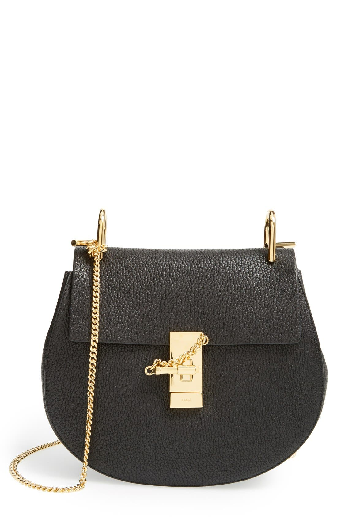 CHLOÉ, Drew Leather Shoulder Bag, Main thumbnail 1, color, BLACK GOLD HRDWRE