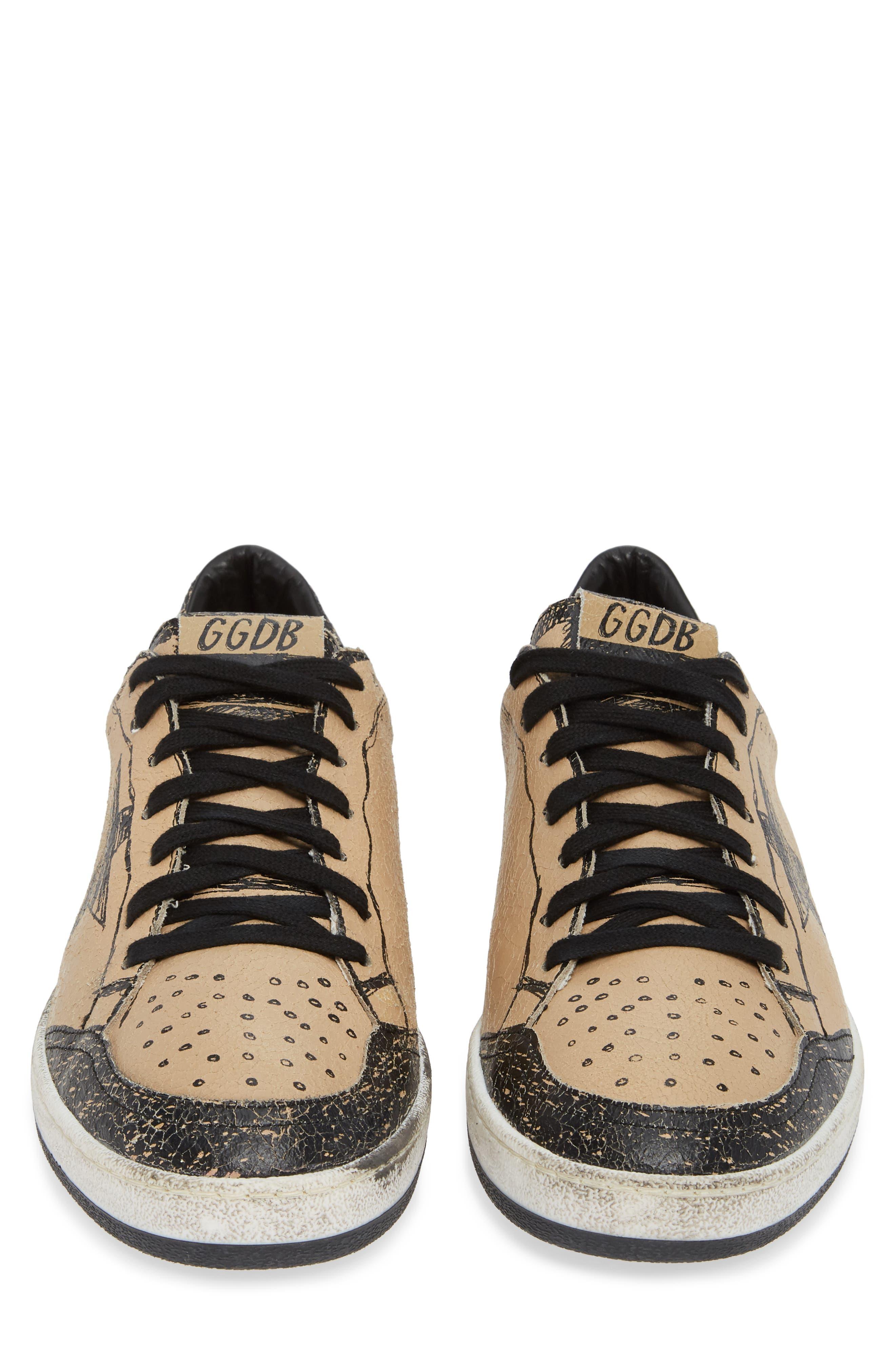 GOLDEN GOOSE, B-Ball Star Sneaker, Alternate thumbnail 4, color, BLACK DRAWING