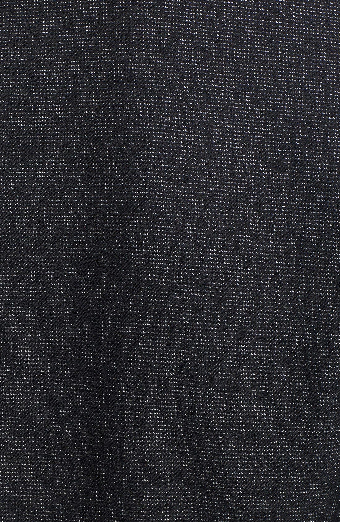 VINCE CAMUTO, Faux Leather Collar Peplum Blazer, Alternate thumbnail 3, color, 001