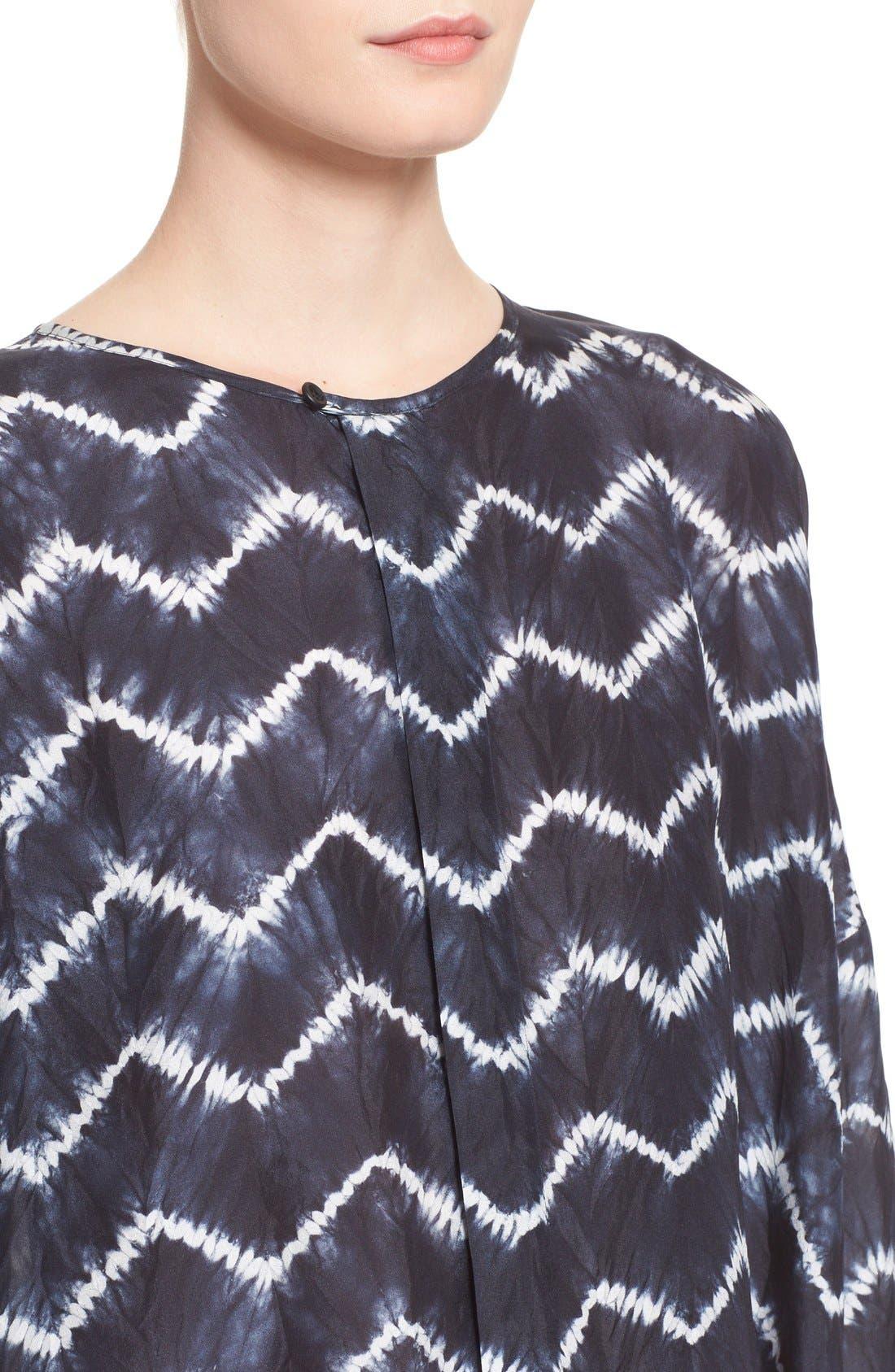 ESKANDAR, Chevron Shibori Silk Tunic, Alternate thumbnail 2, color, 411