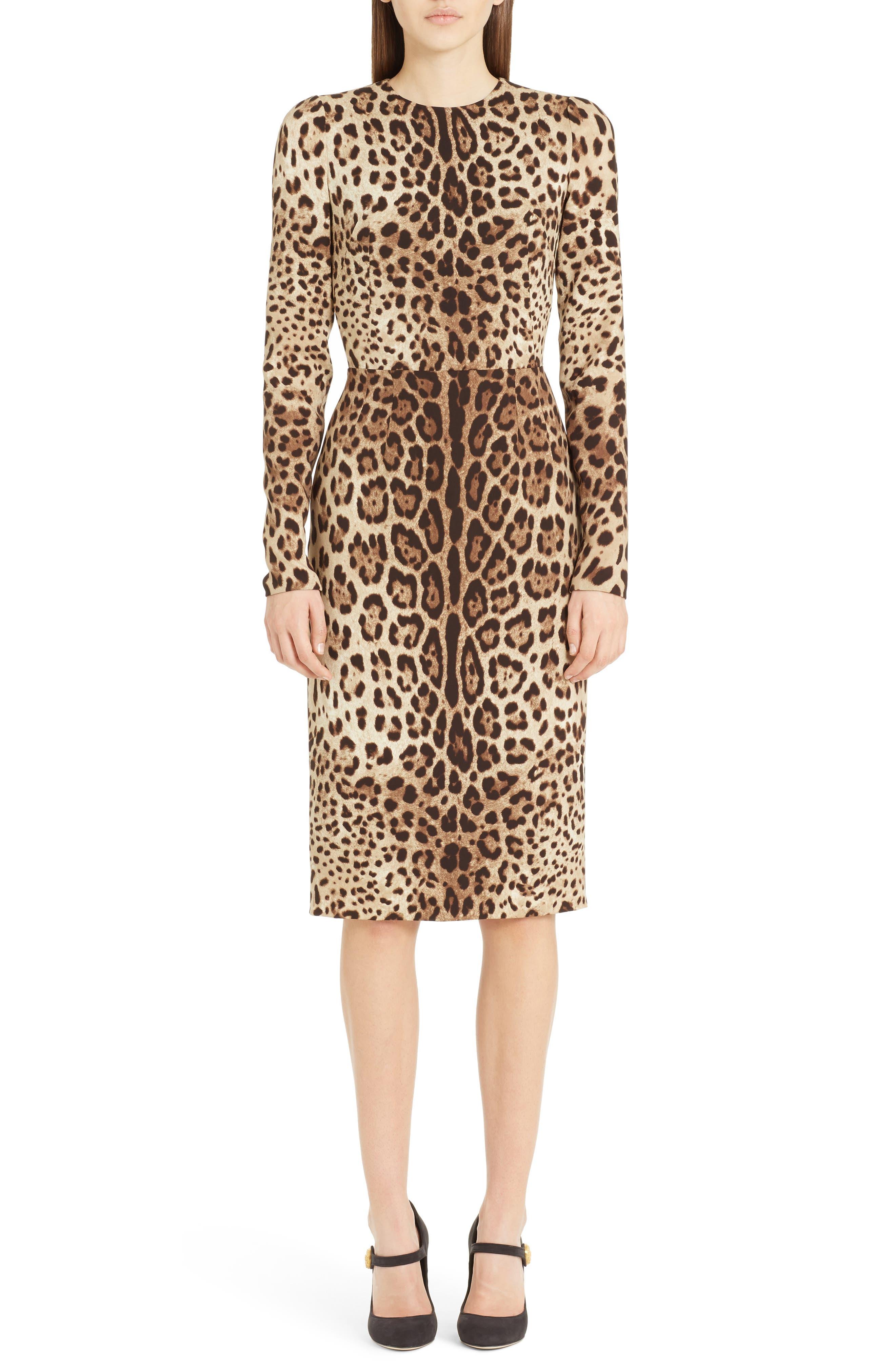 Dolce & gabbana Leopard Print Stretch Silk Sheath Dress, US / 46 IT - Brown