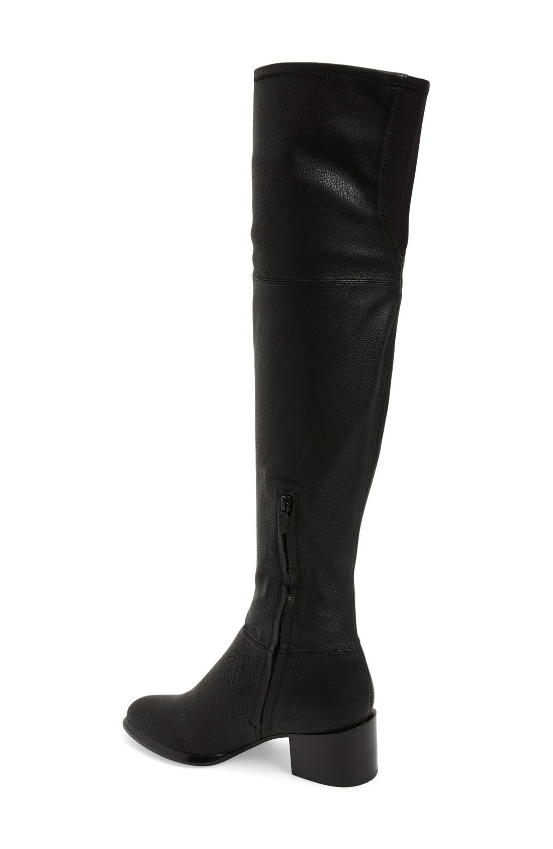 CALVIN KLEIN, 'Nani' Over The Knee Boot, Alternate thumbnail 3, color, 001