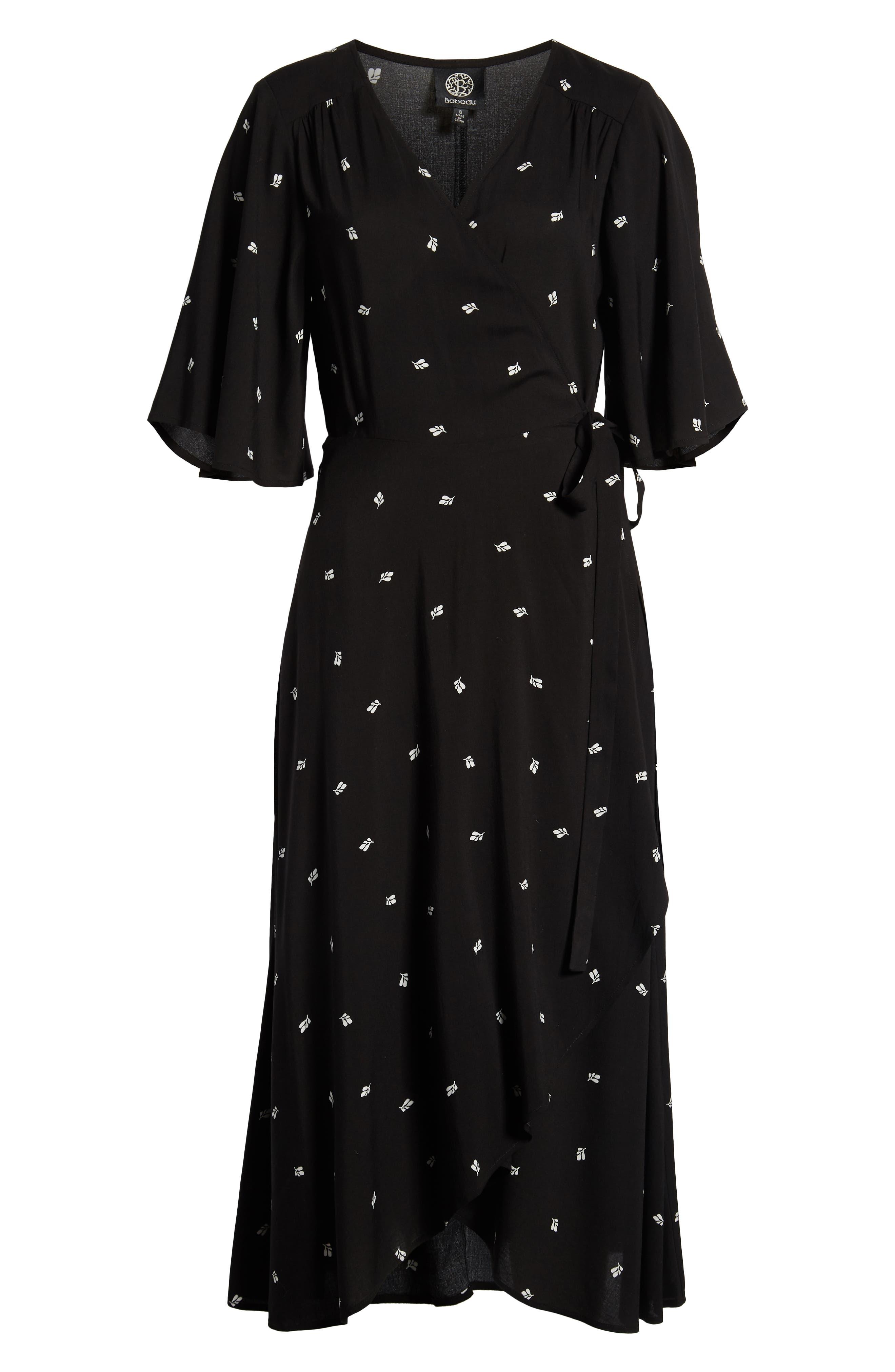BOBEAU, Orna High/Low Wrap Dress, Alternate thumbnail 7, color, BLACK LEAF PRINT
