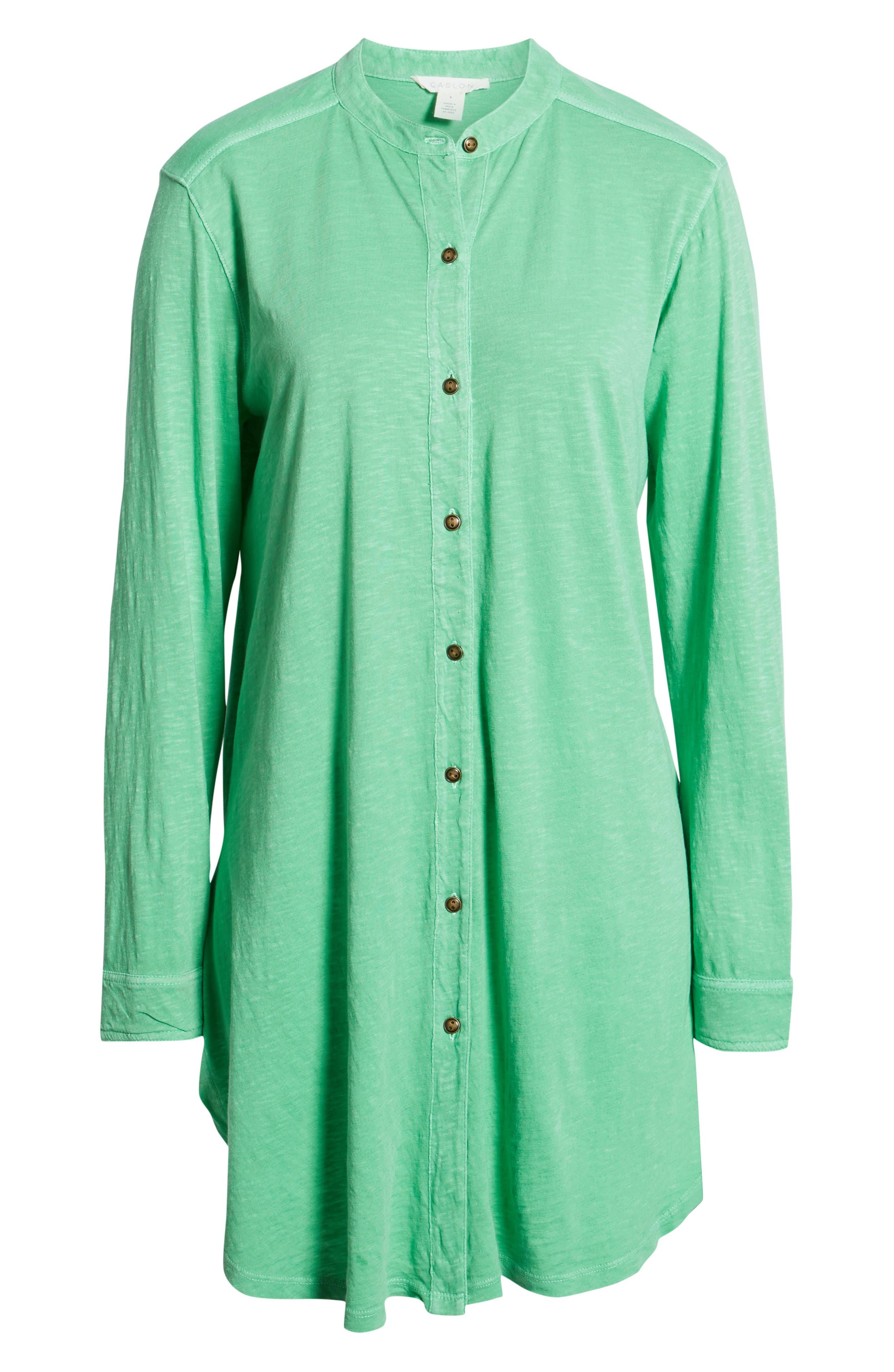 CASLON<SUP>®</SUP>, Button Down Knit Tunic, Alternate thumbnail 6, color, GREEN KATYDID