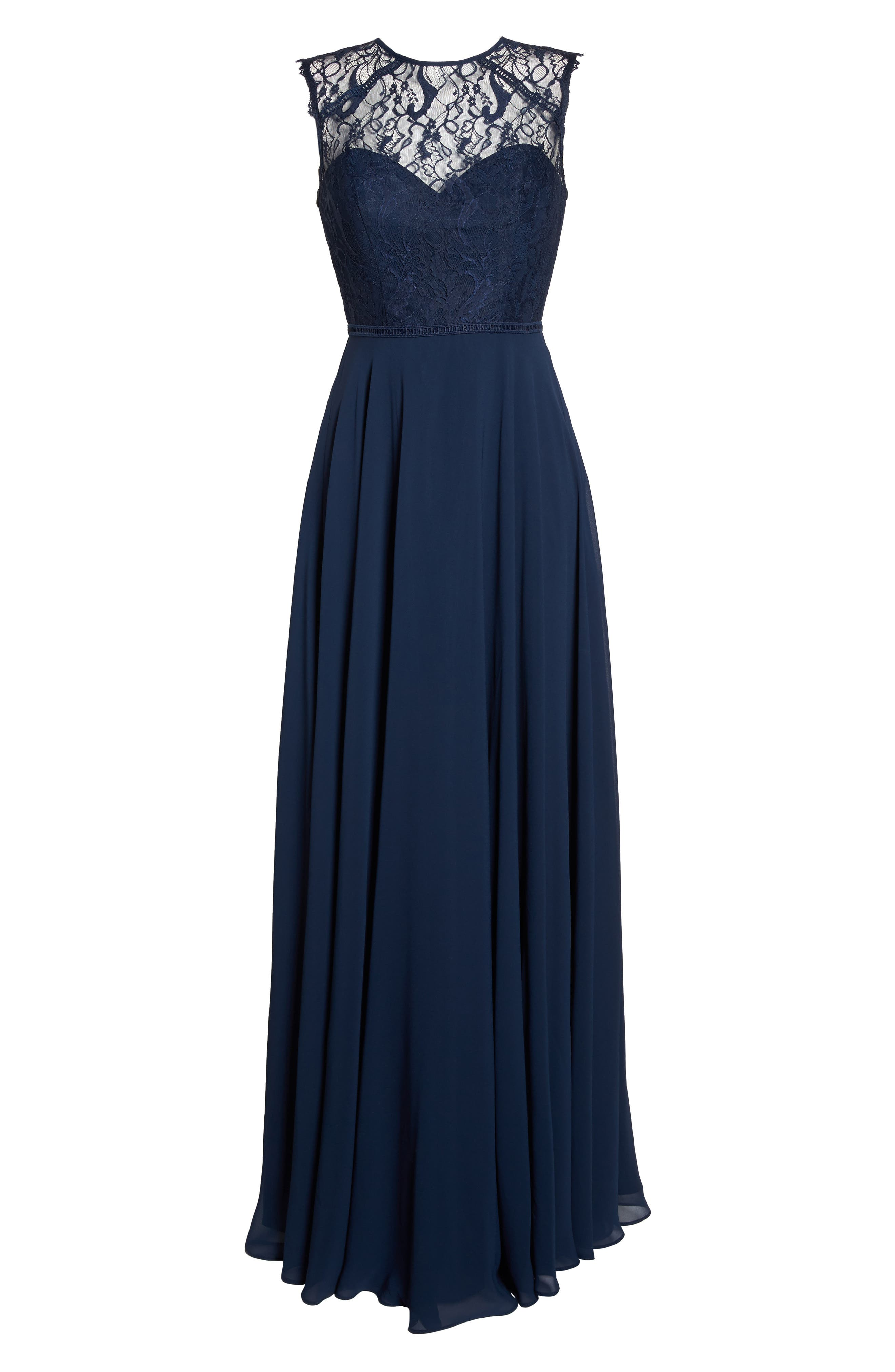 HAYLEY PAIGE OCCASIONS, Lace & Chiffon Gown, Alternate thumbnail 7, color, NAVY