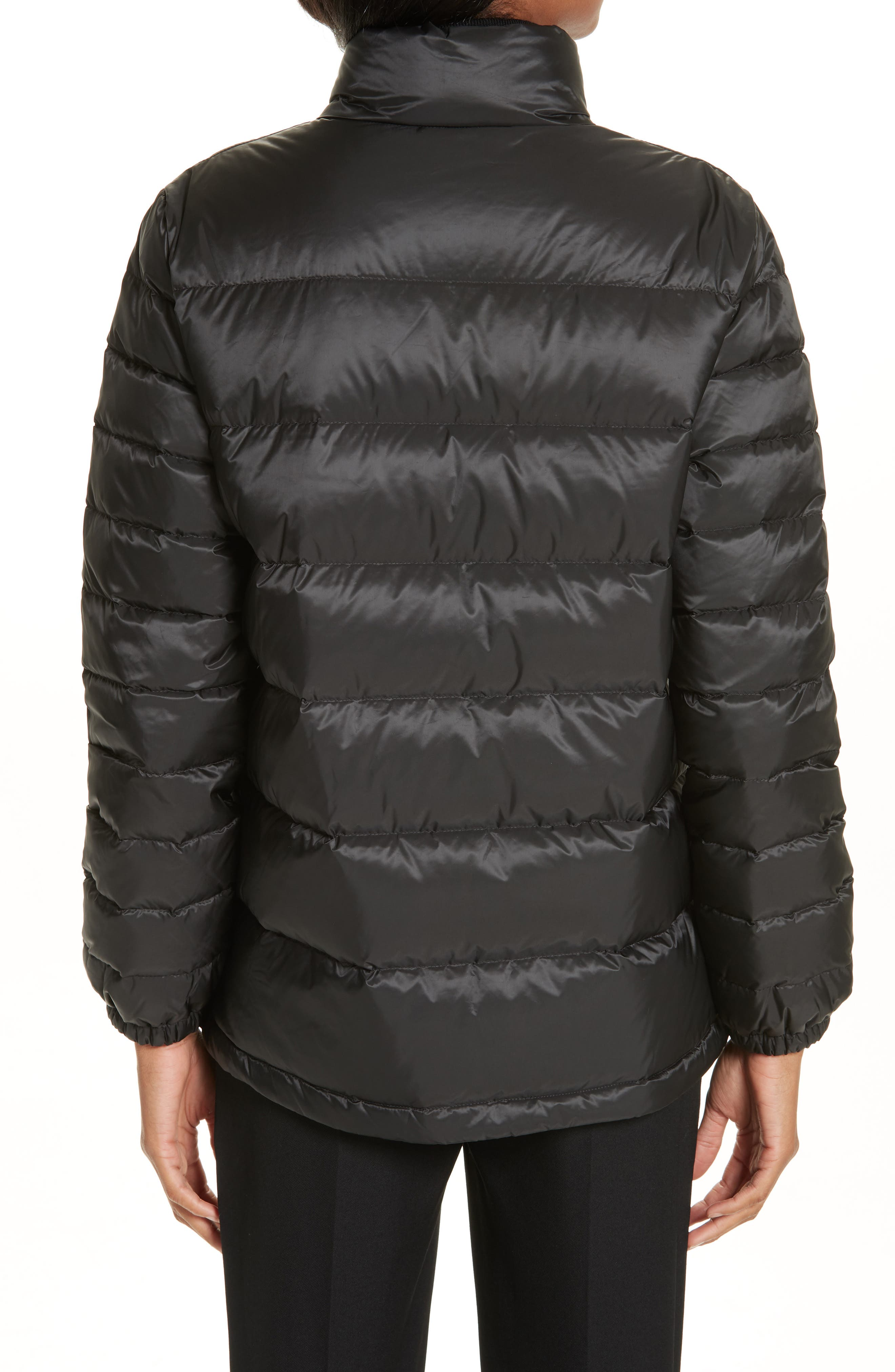 BURBERRY, Smethwick Archive Logo Quilted Down Puffer Coat, Alternate thumbnail 2, color, BLACK