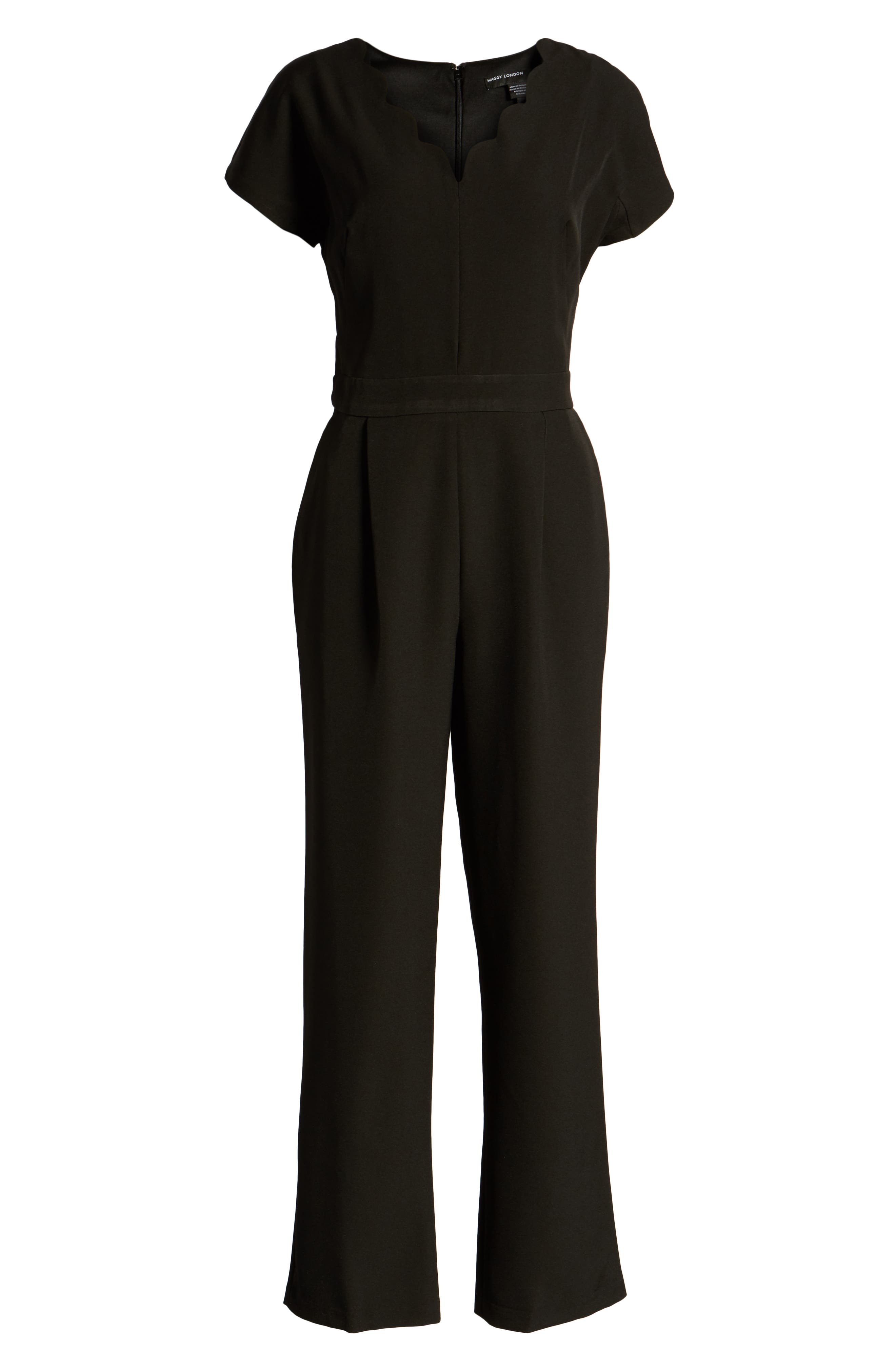 MAGGY LONDON, Crepe Jumpsuit, Alternate thumbnail 4, color, 001