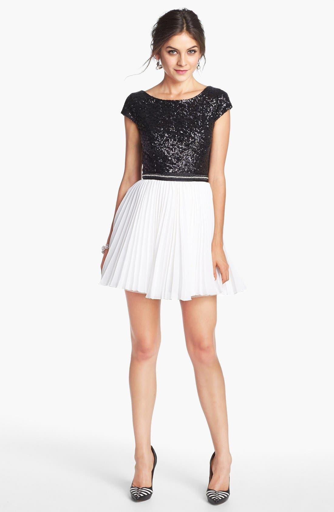 TRIXXI, Pleated Sequin Dress, Main thumbnail 1, color, 001