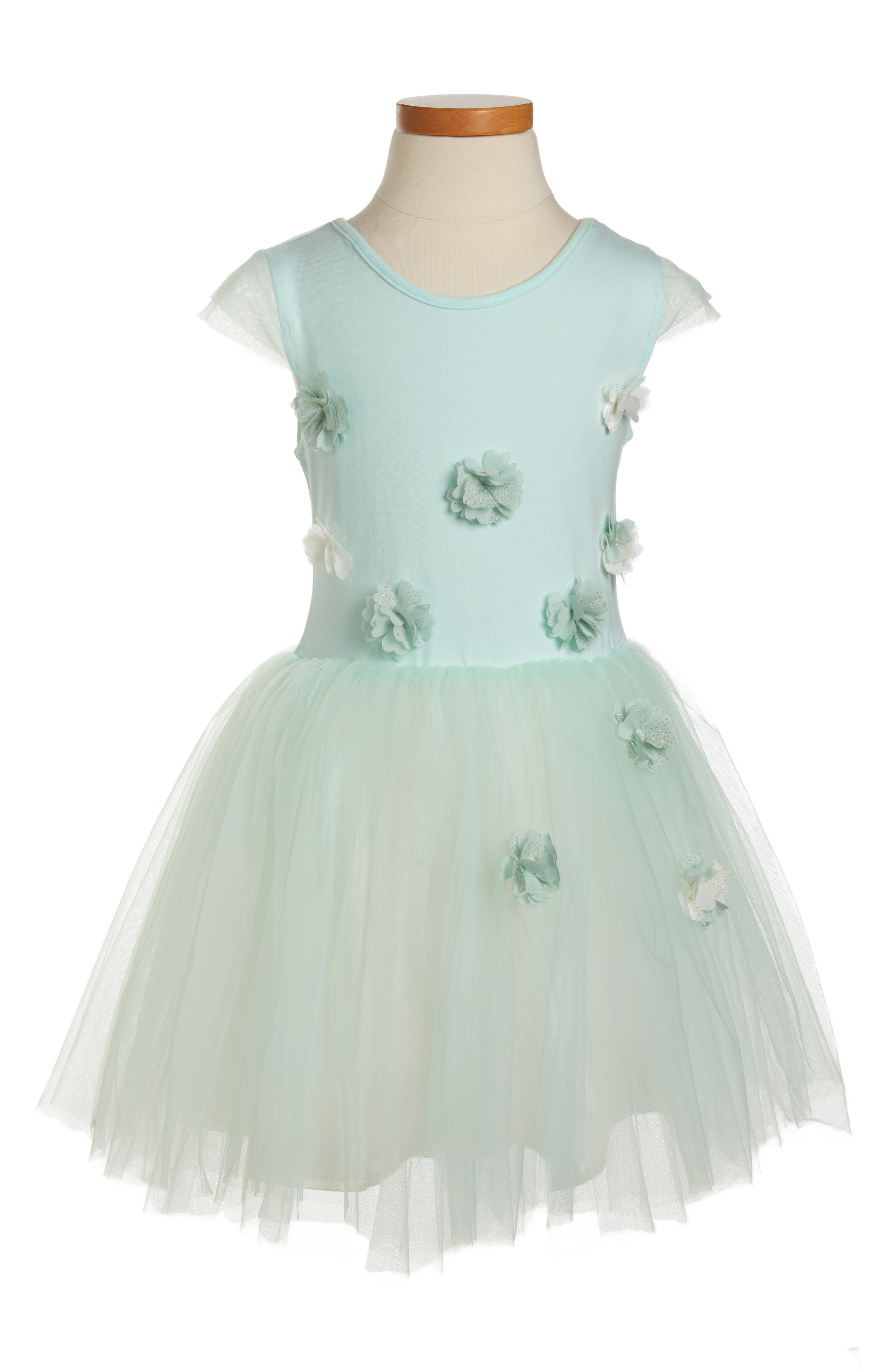 POPATU Flower Tulle Dress, Main, color, MINT