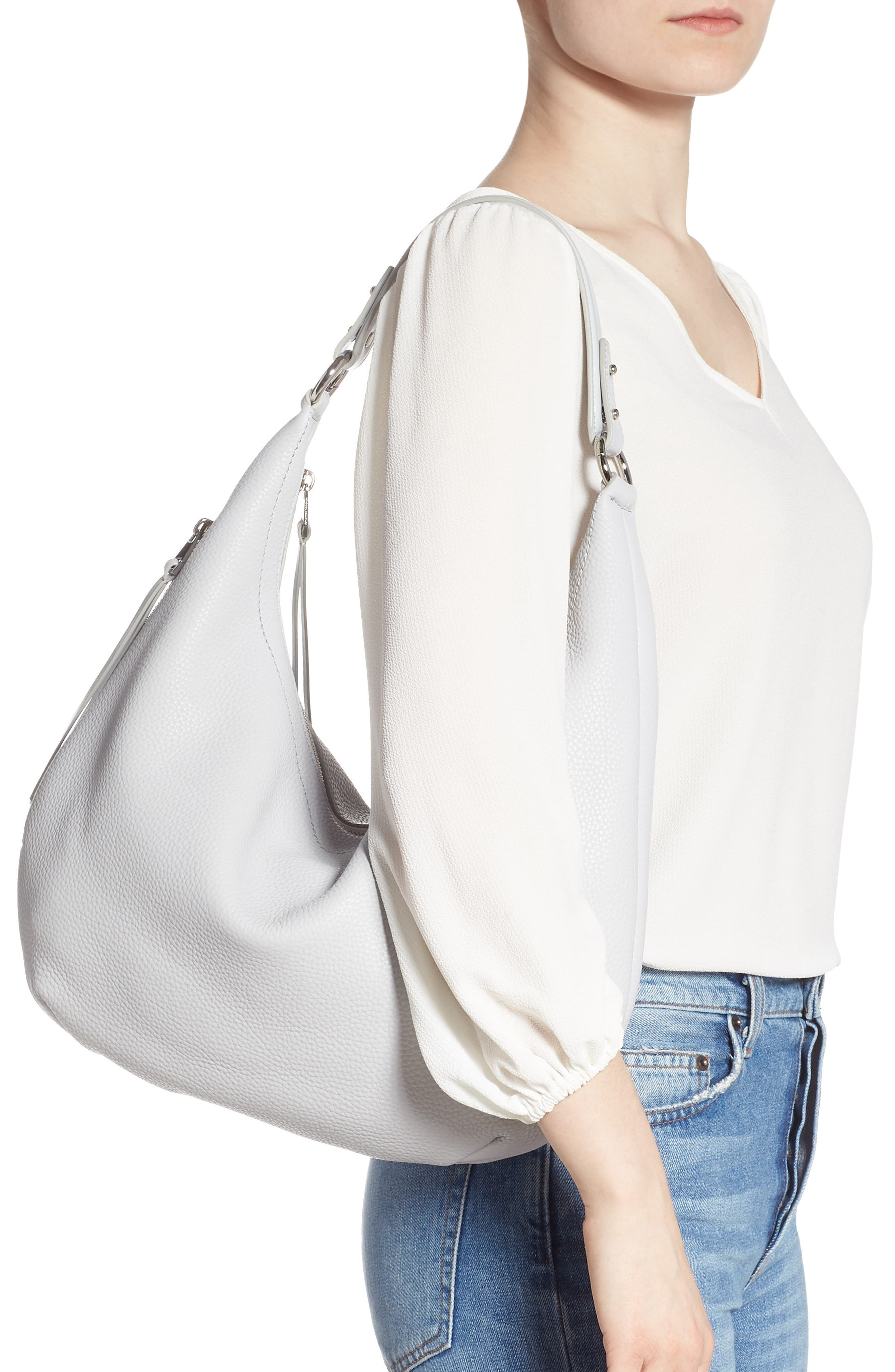 REBECCA MINKOFF, Michelle Leather Hobo, Alternate thumbnail 2, color, ICE GREY