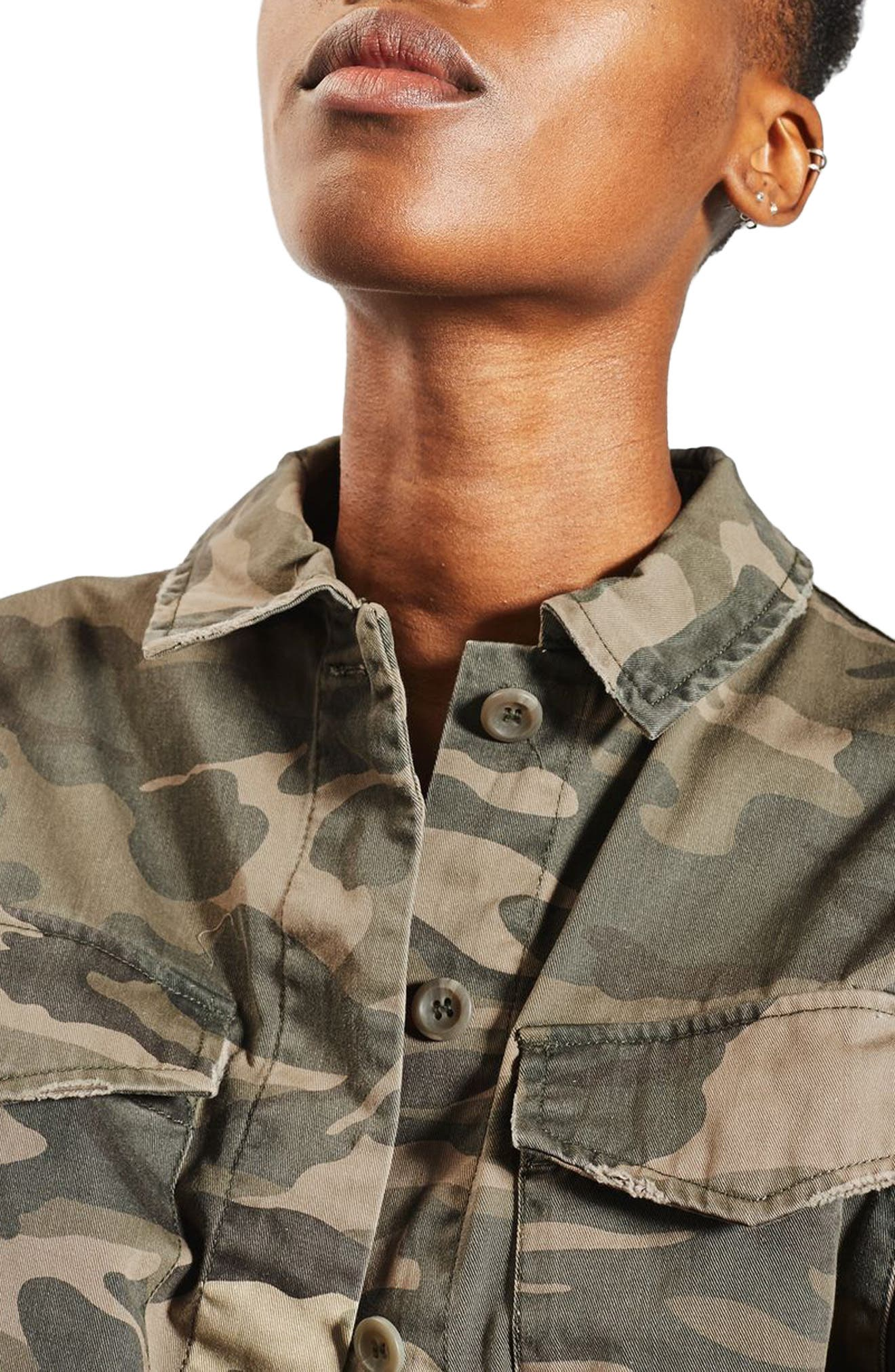 TOPSHOP, Sampson Camo Shirt Jacket, Alternate thumbnail 3, color, 300