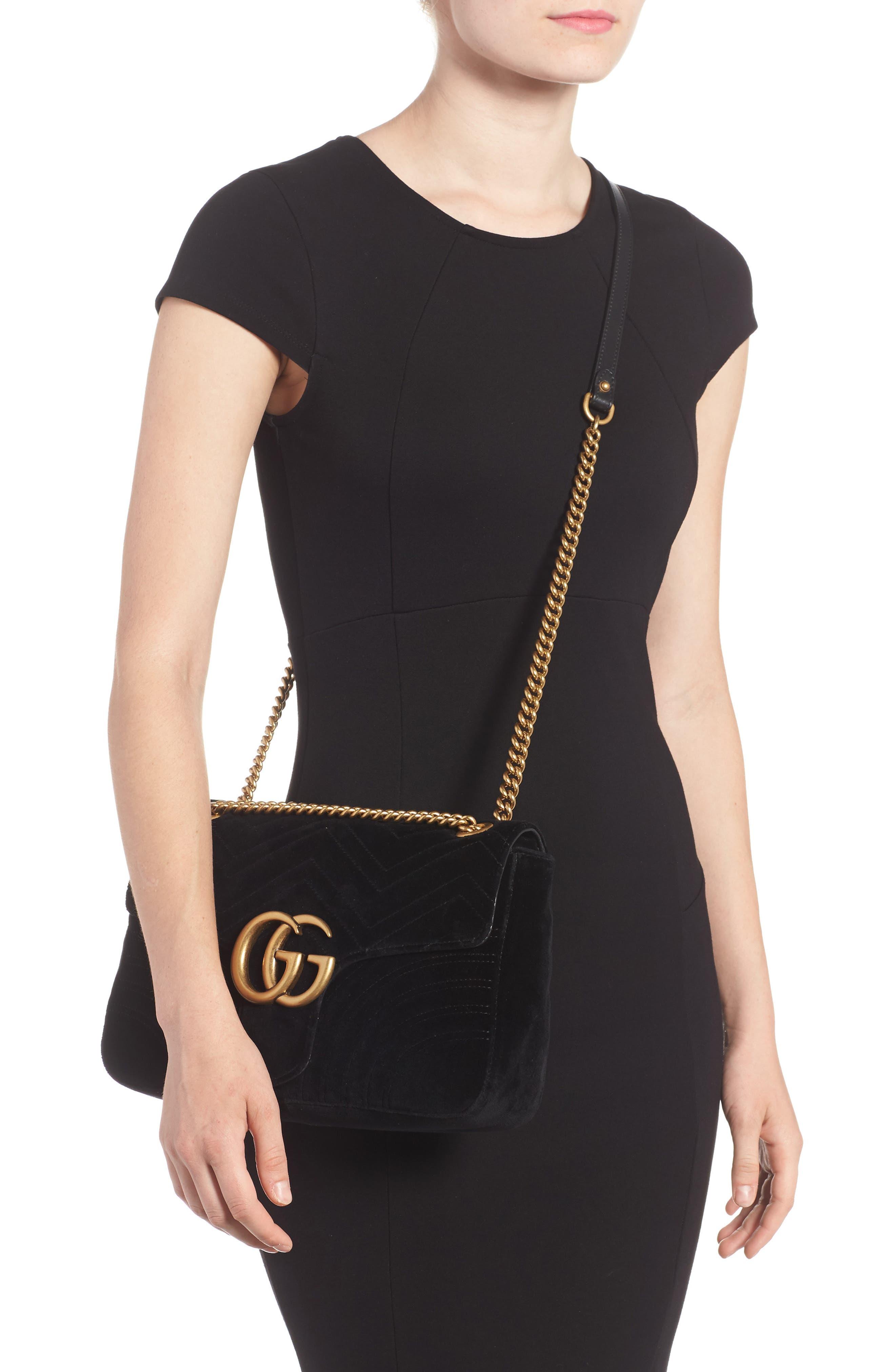 GUCCI, Medium GG Marmont 2.0 Matelassé Velvet Shoulder Bag, Alternate thumbnail 2, color, NERO
