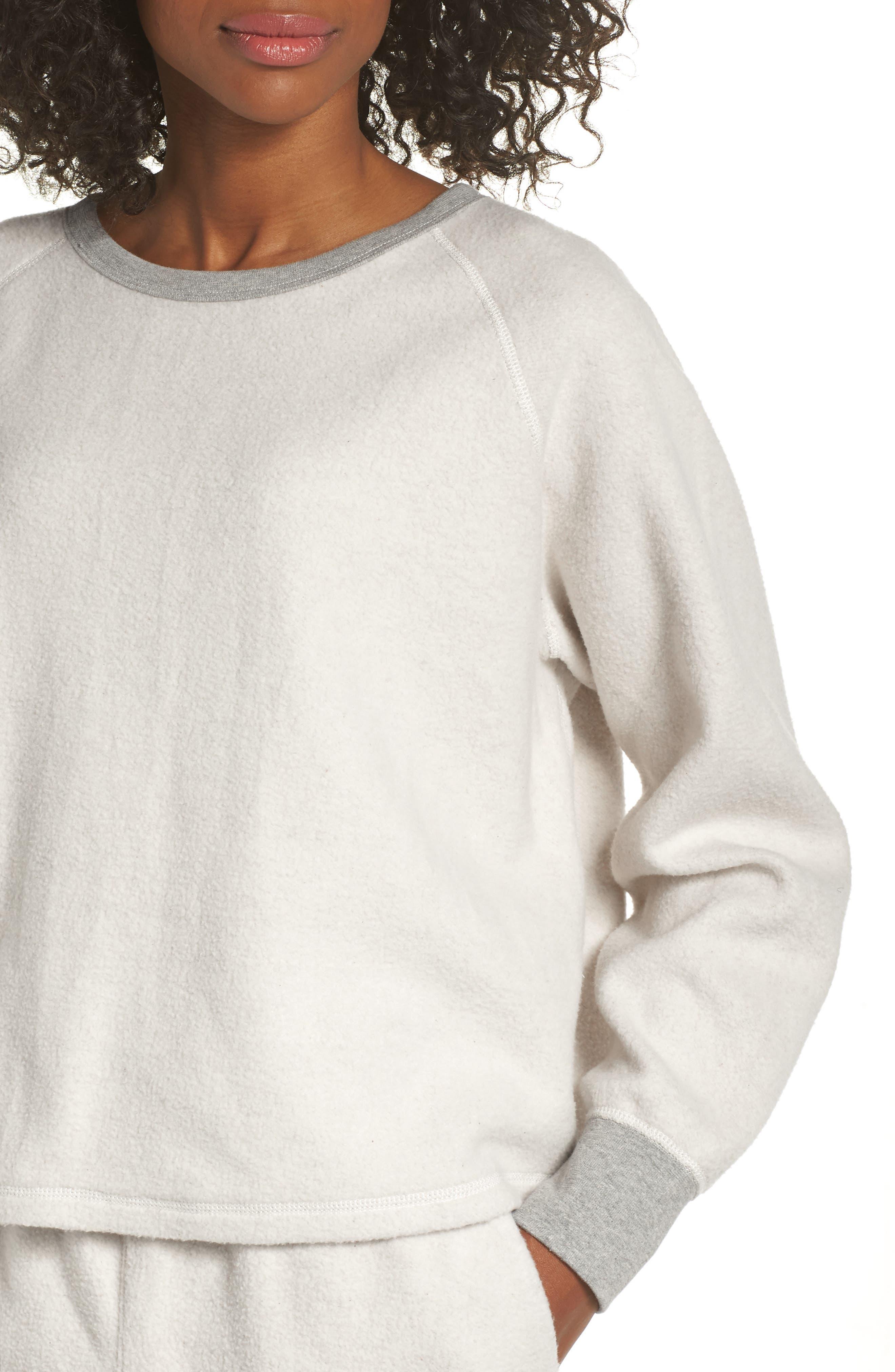 MADEWELL, Fleece Pajama Sweatshirt, Alternate thumbnail 4, color, 020