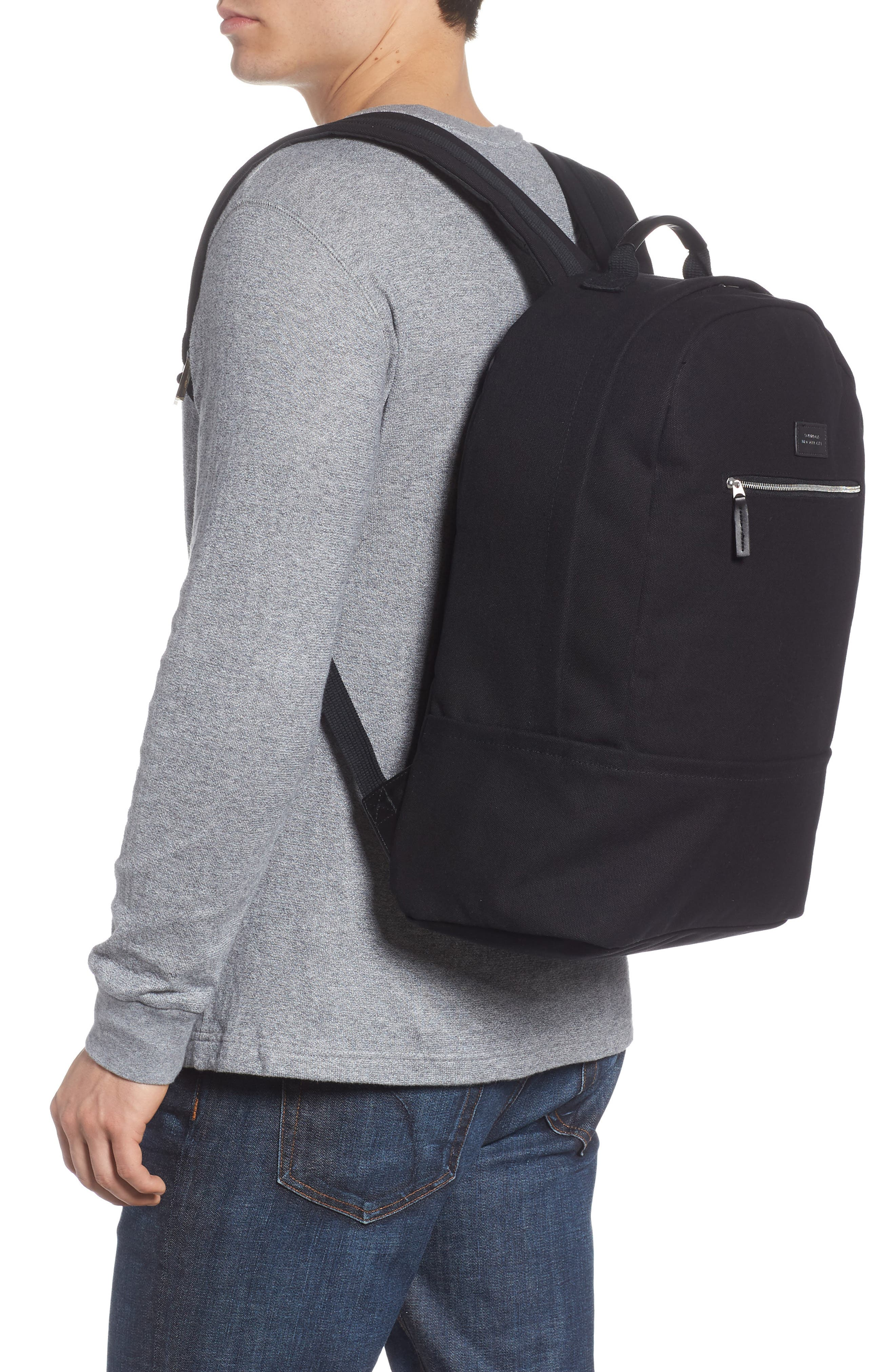 SATURDAYS NYC, Hannes Water Repellent Backpack, Alternate thumbnail 2, color, BLACK