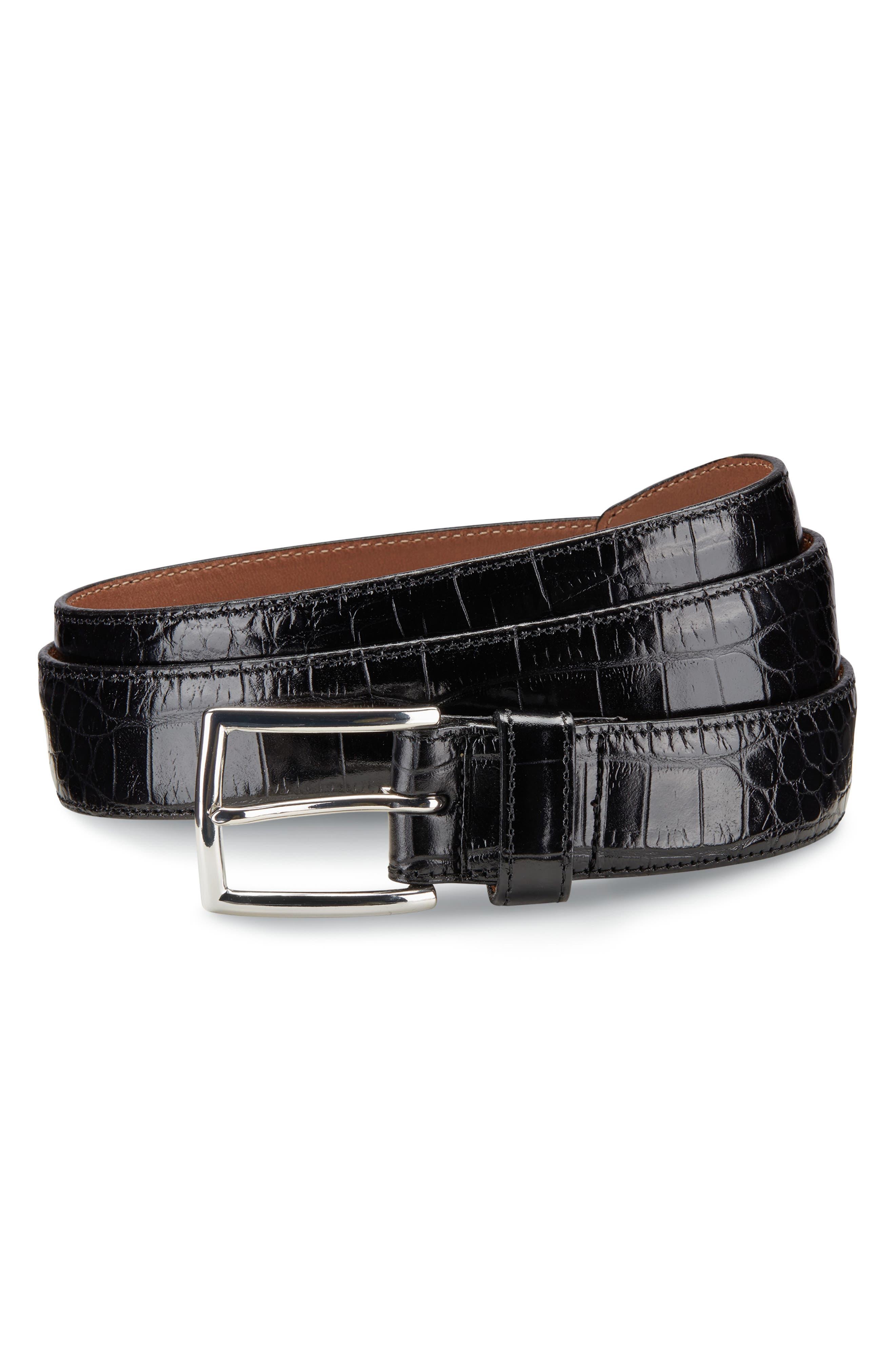 ALLEN EDMONDS, Everglade Avenue Leather Belt, Main thumbnail 1, color, BLACK