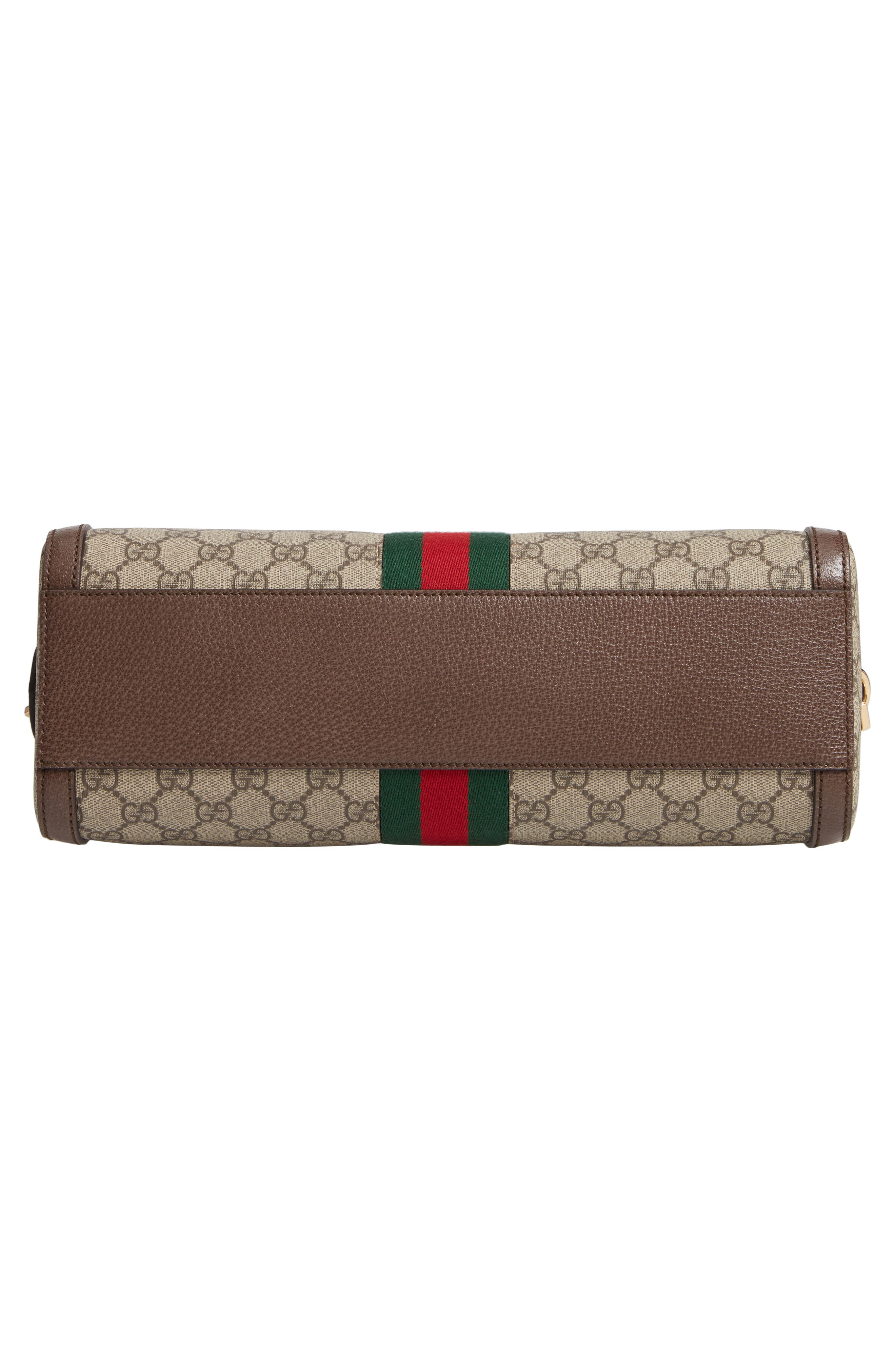 GUCCI, Ophidia GG Supreme Canvas Top Handle Bag, Alternate thumbnail 6, color, BEIGE EBONY/ ACERO/ VERT RED