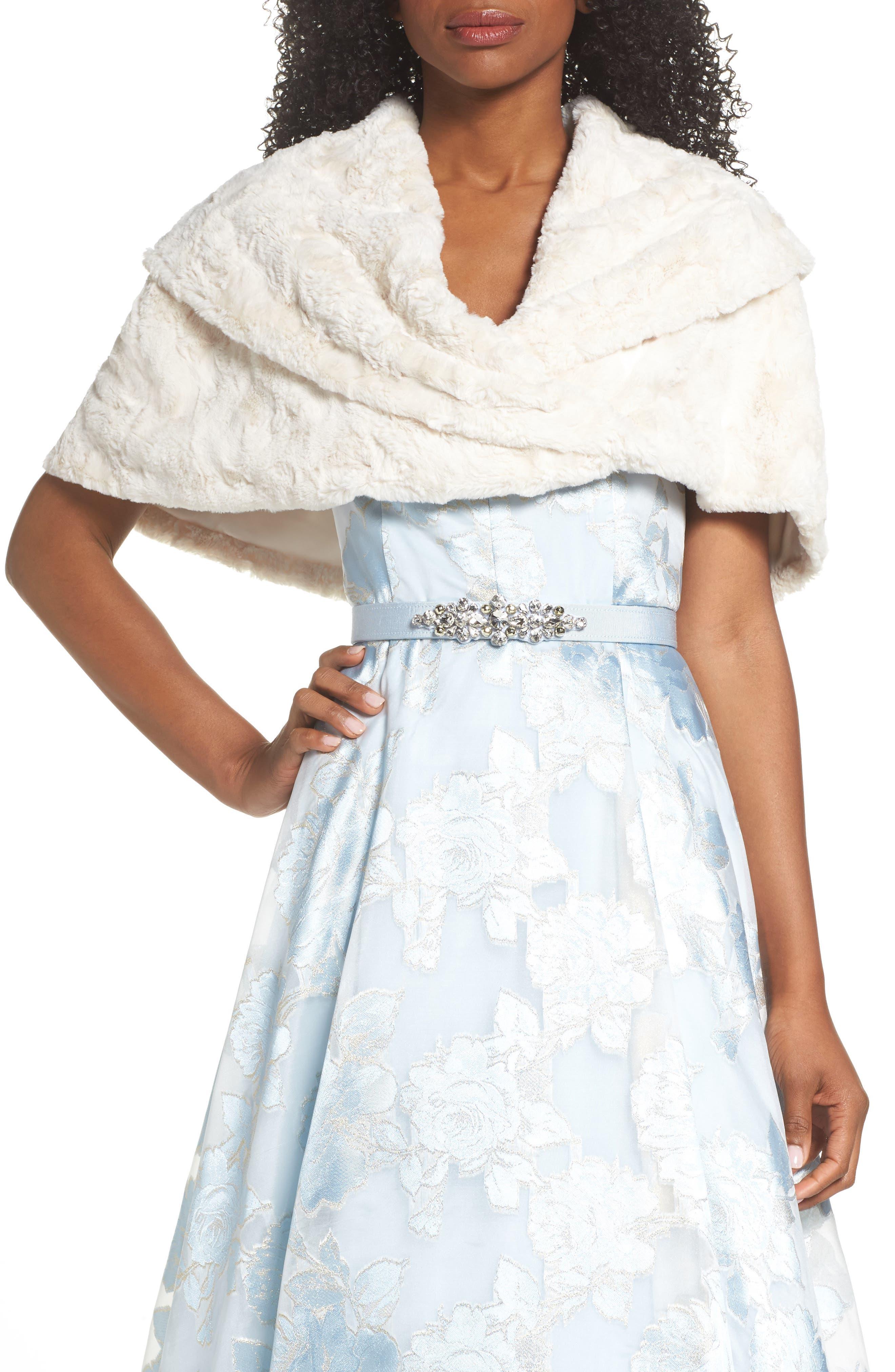ELIZA J Faux Fur Stole, Main, color, IVORY