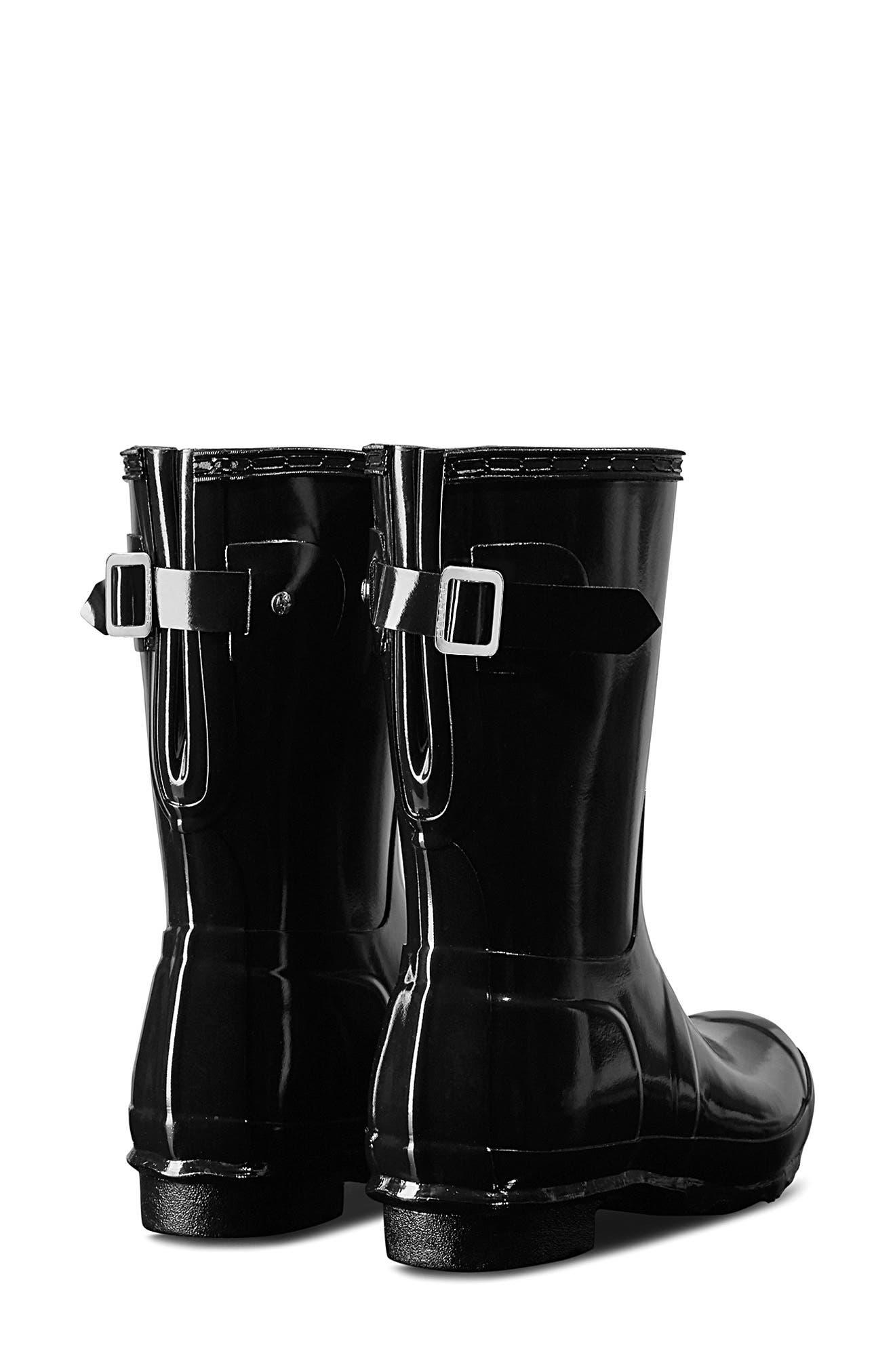 HUNTER, Original Short Adjustable Back Gloss Waterproof Rain Boot, Alternate thumbnail 2, color, BLACK