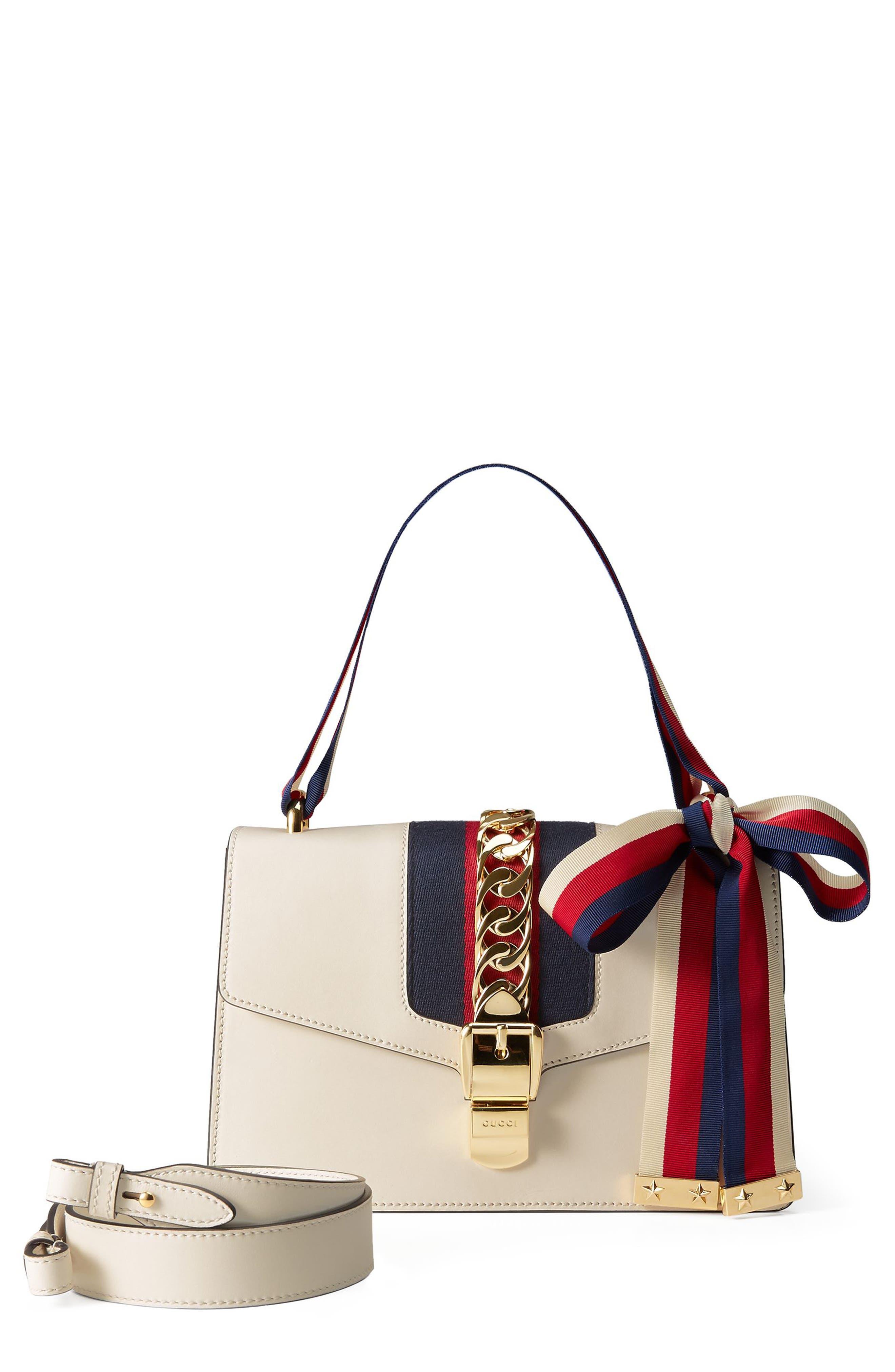 GUCCI, Small Sylvie Leather Shoulder Bag, Main thumbnail 1, color, WHITE