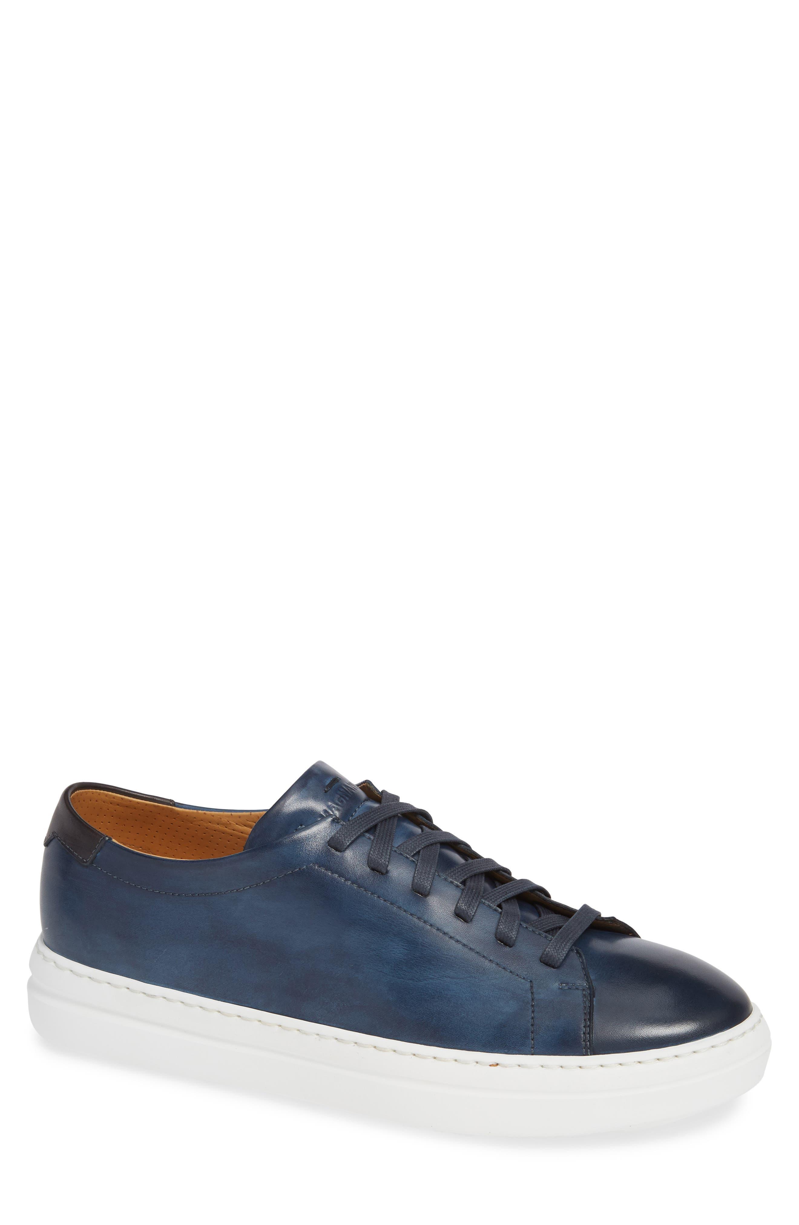 MAGNANNI Bartolo Sneaker, Main, color, NAVY LEATHER