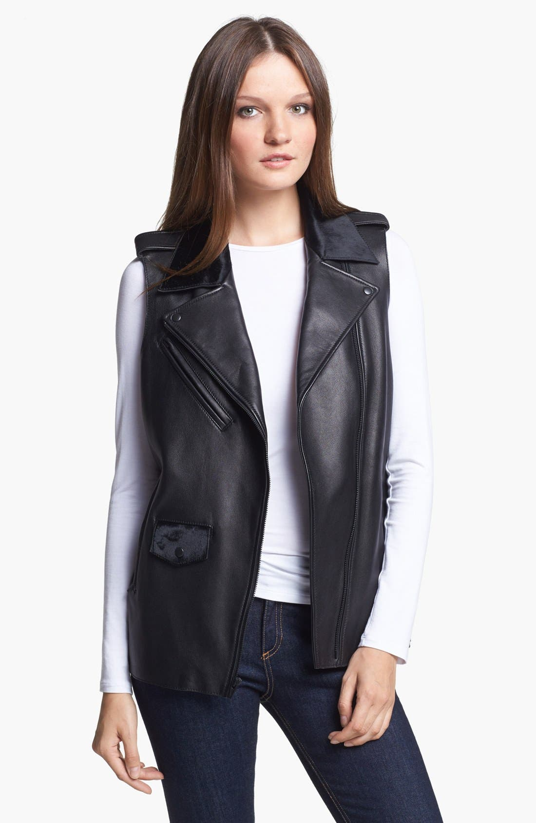 VEDA Genuine Calf Hair & Leather Vest, Main, color, 001