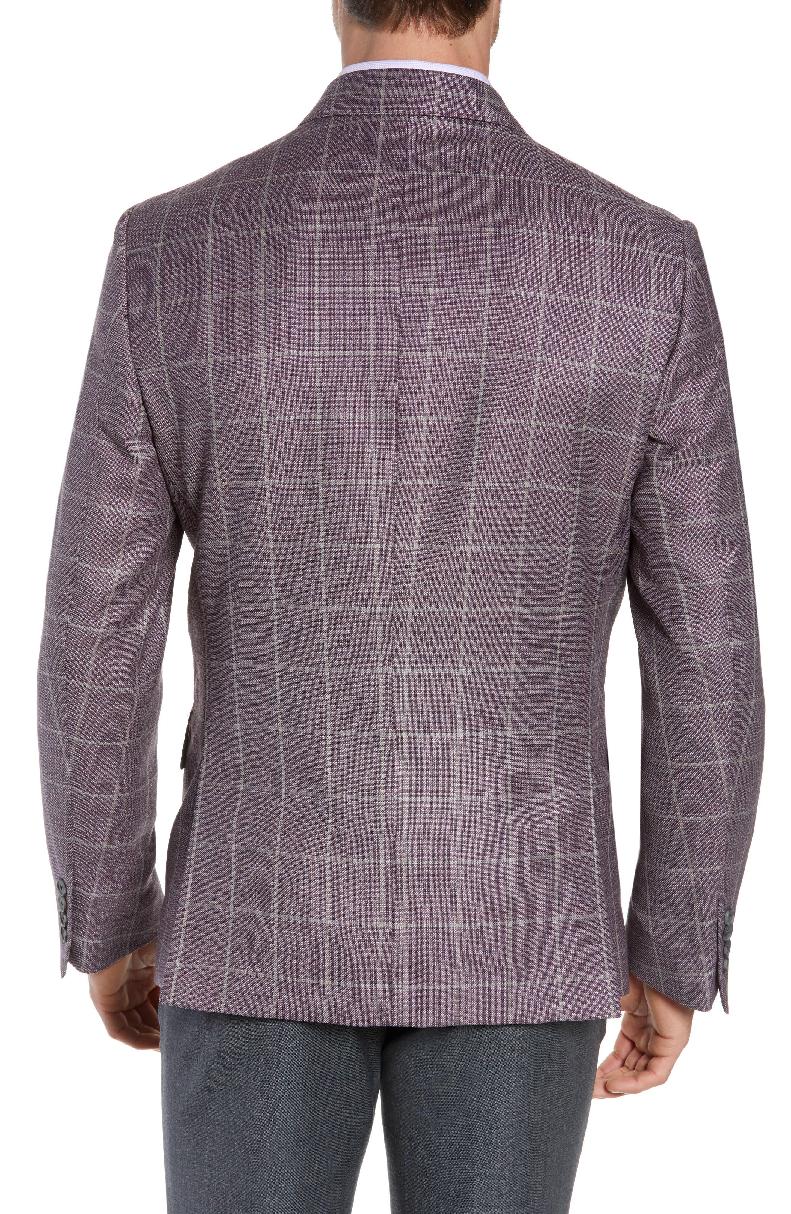 JOHN W. NORDSTROM<SUP>®</SUP>, Traditional Fit Windowpane Wool Sport Coat, Alternate thumbnail 2, color, BURGUNDY SASS WINDOWPANE