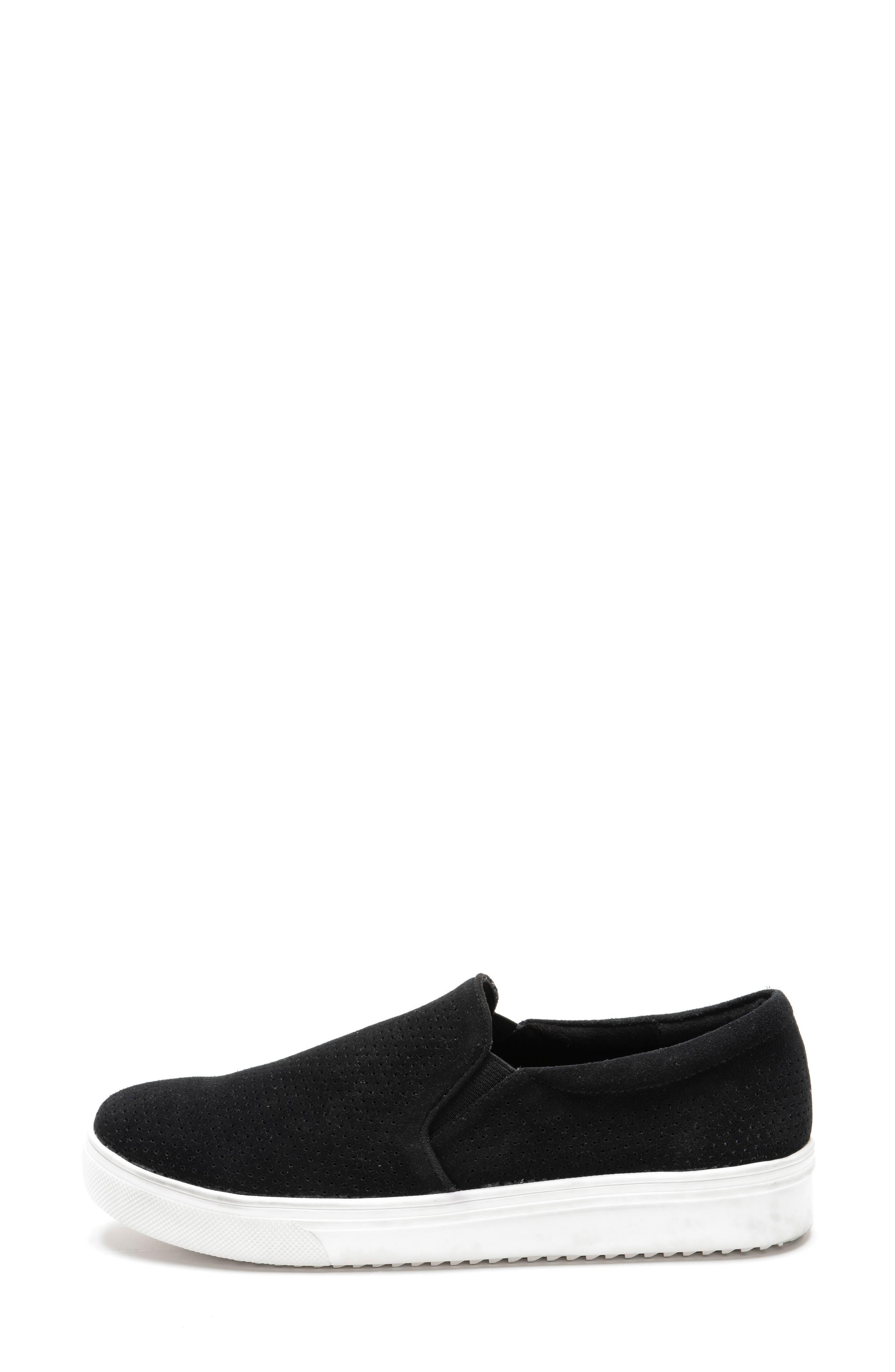 BLONDO, Gallert Perforated Waterproof Platform Sneaker, Alternate thumbnail 3, color, BLACK SUEDE