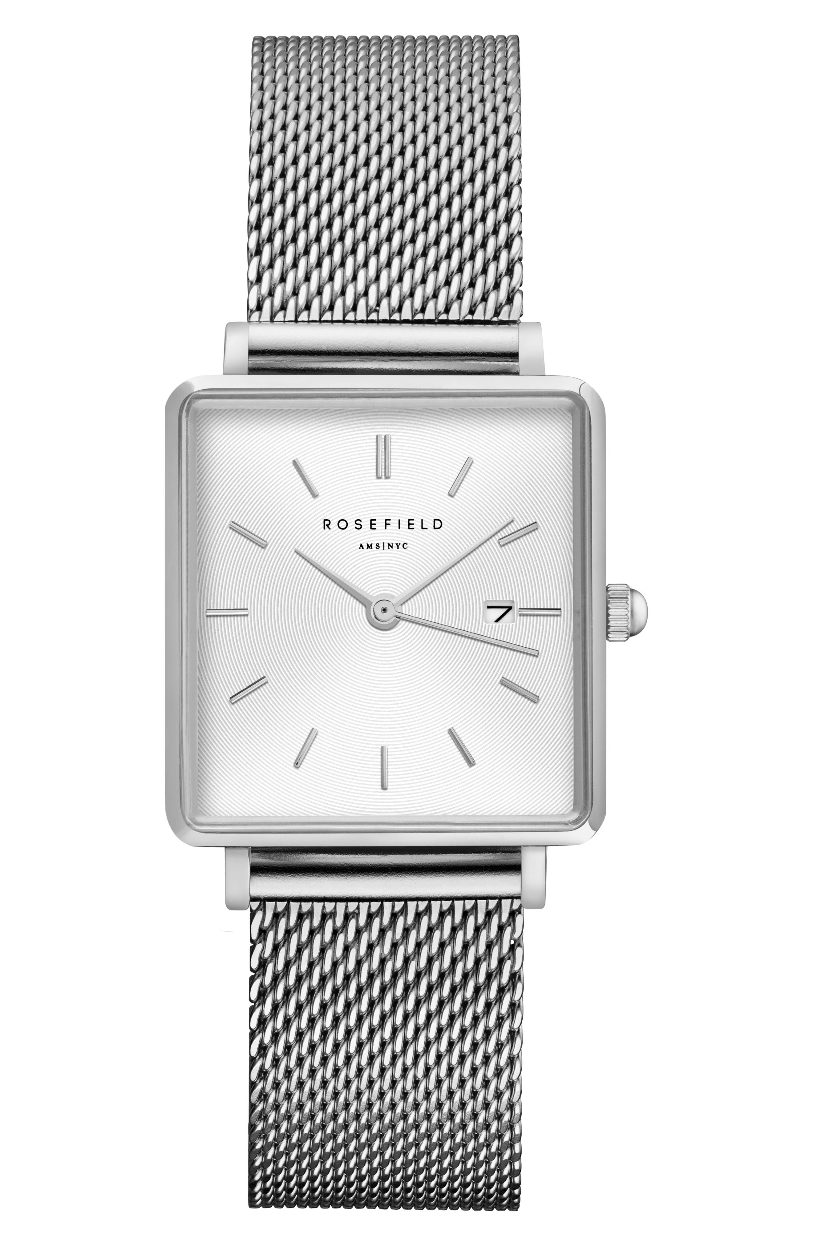 ROSEFIELD, The Boxy Mesh Strap Watch, 26mm x 28mm, Main thumbnail 1, color, SILVER/ WHITE SUNRAY/ SILVER