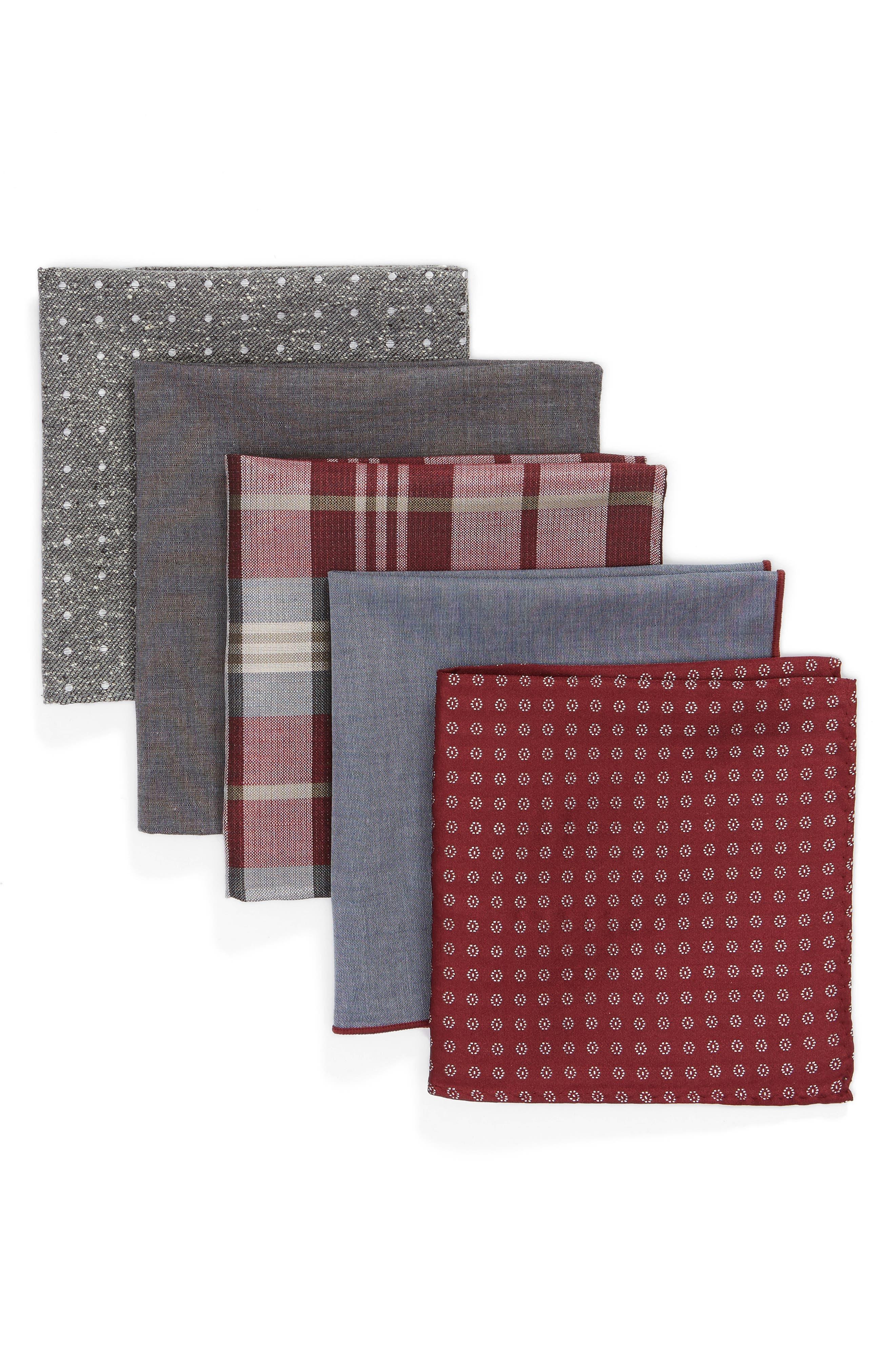 THE TIE BAR Set of 5 Pocket Squares, Main, color, BURGUNDY
