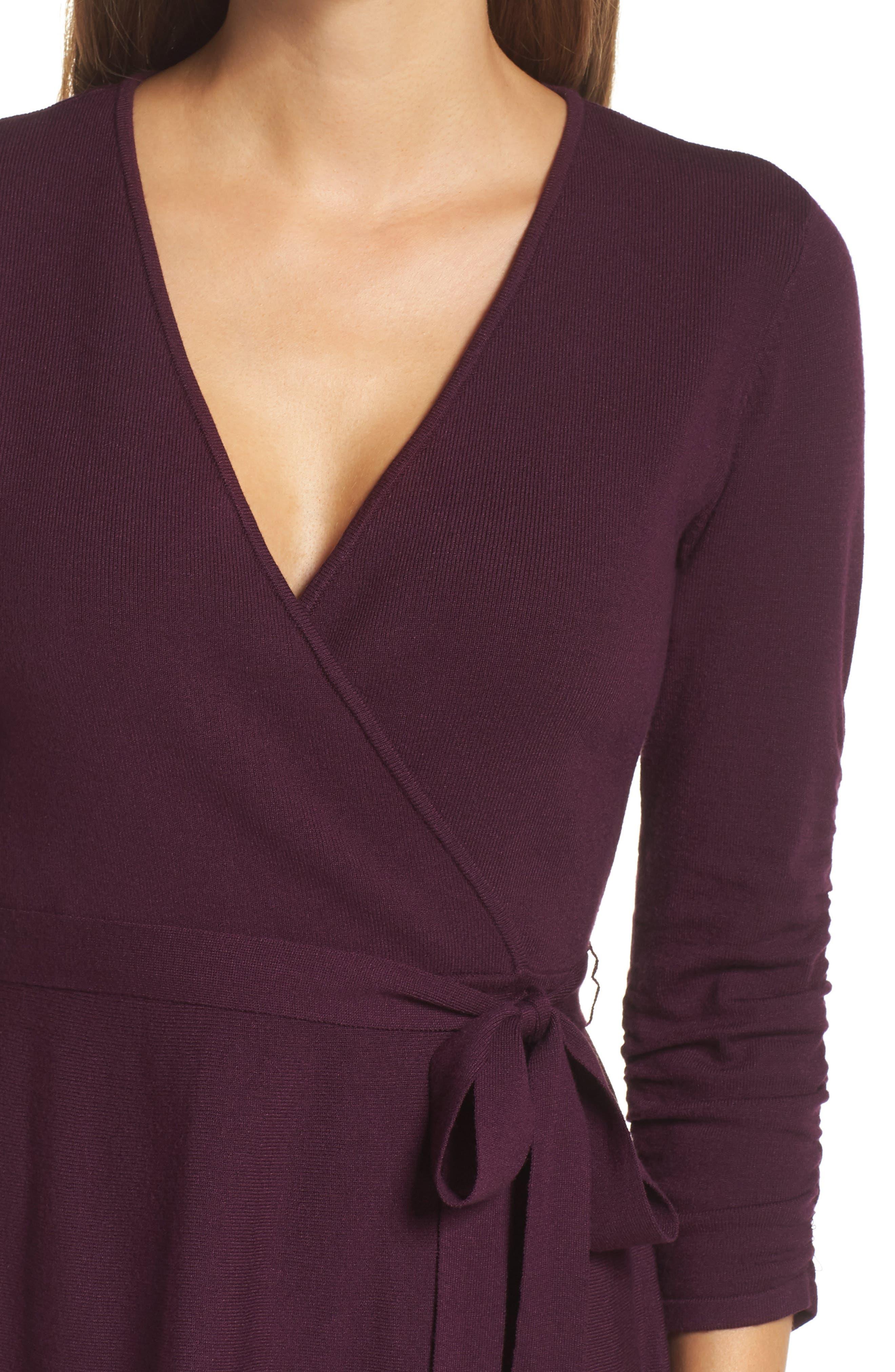 ELIZA J, Faux Wrap Sweater Dress, Alternate thumbnail 5, color, 930