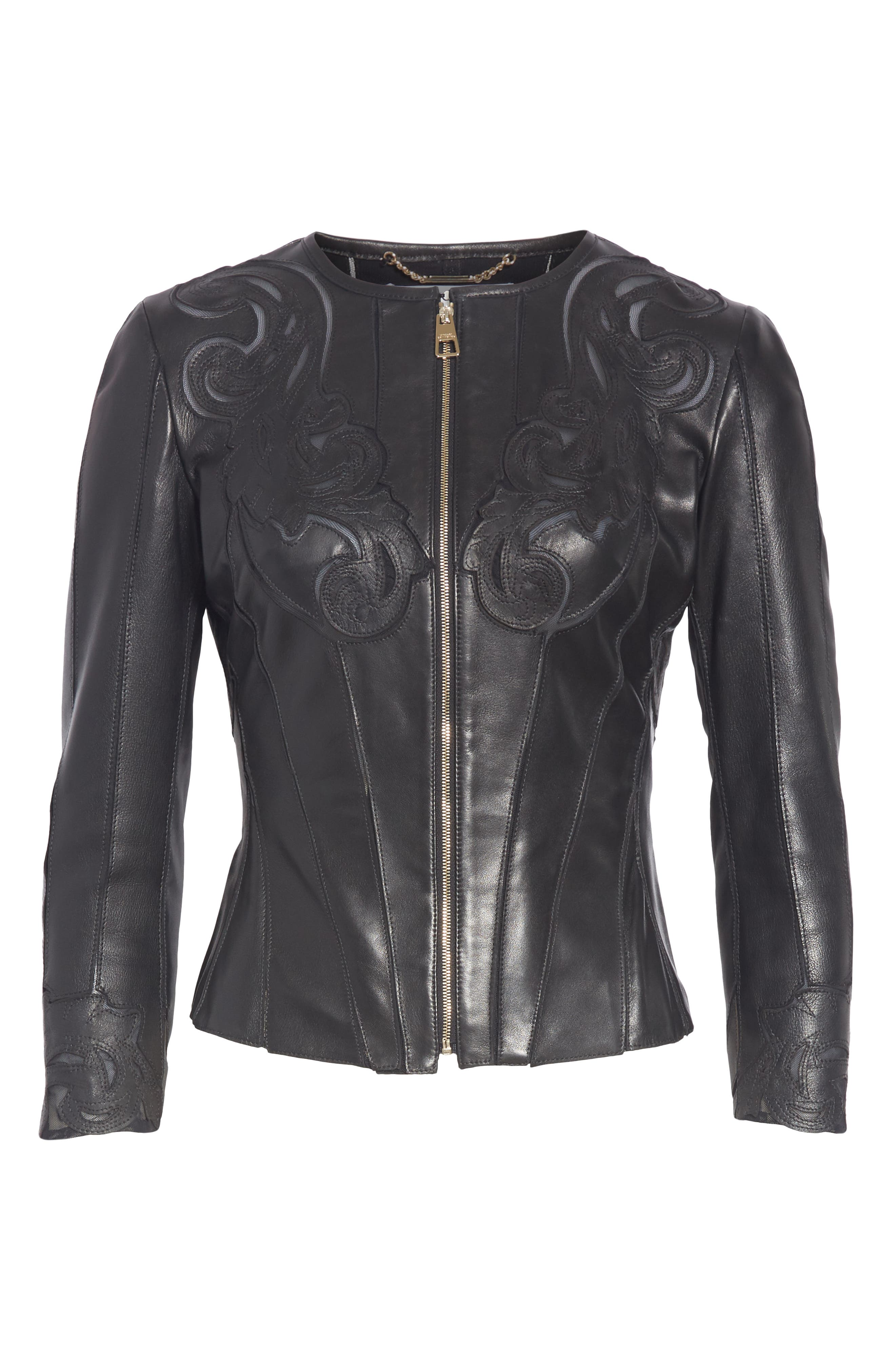 VERSACE COLLECTION, Fitted Leather Jacket, Alternate thumbnail 6, color, BLACK