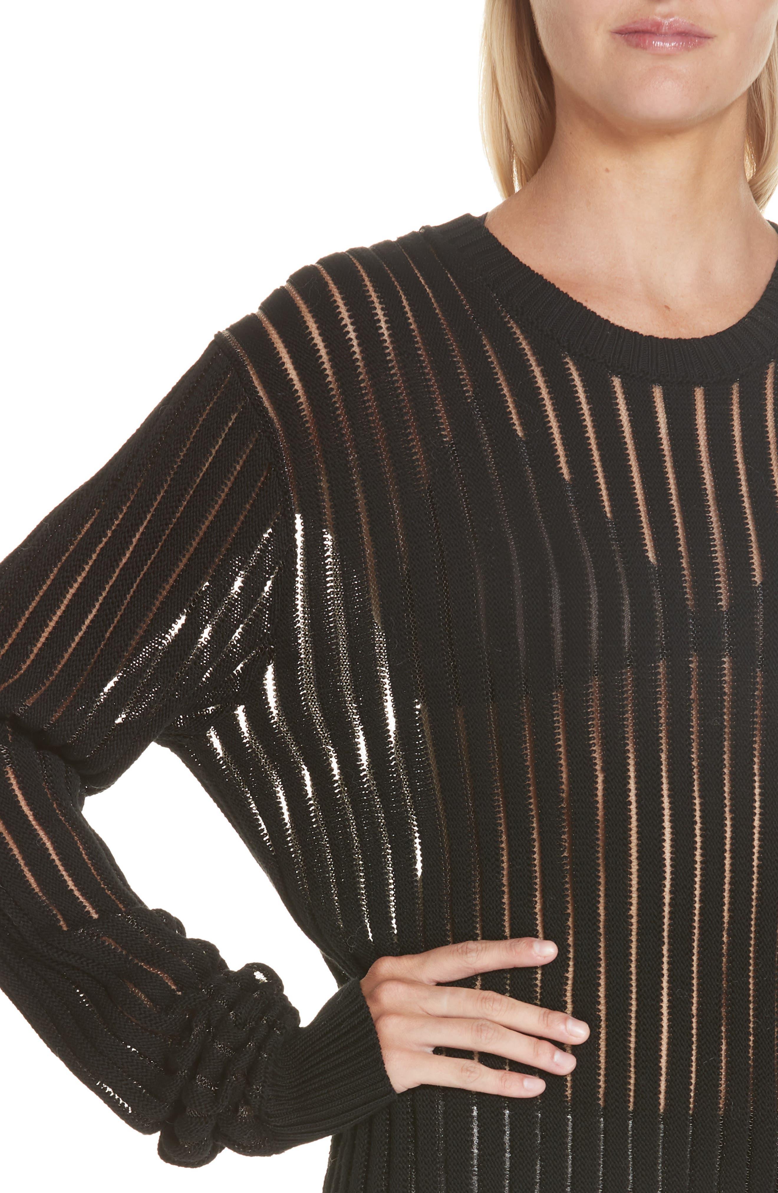 HELMUT LANG, Sheer Stripe Sweater, Alternate thumbnail 4, color, 001