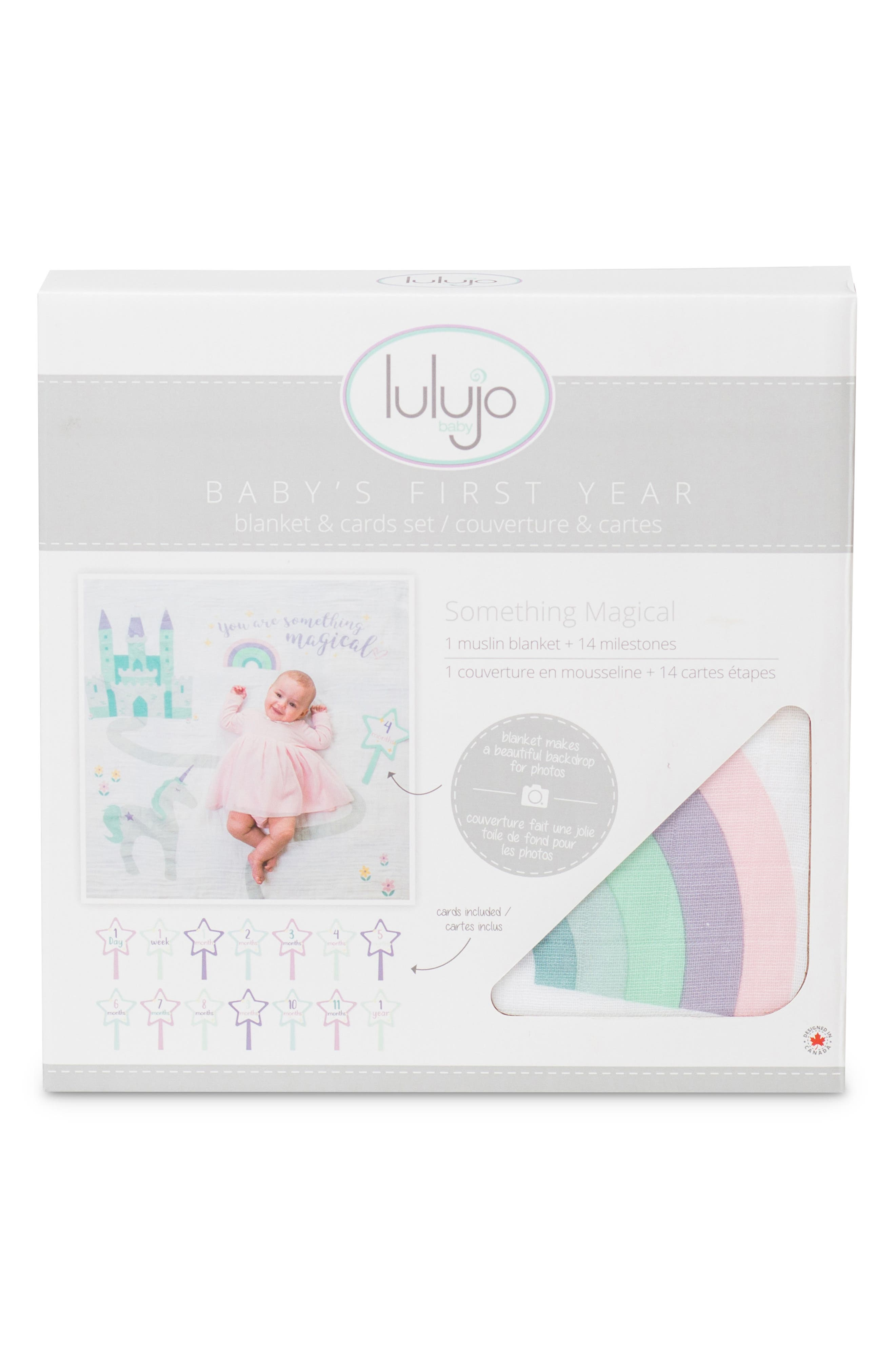 LULUJO, Baby's First Year - Something Magical Muslin Blanket & Milestone Card Set, Alternate thumbnail 2, color, LAVENDER