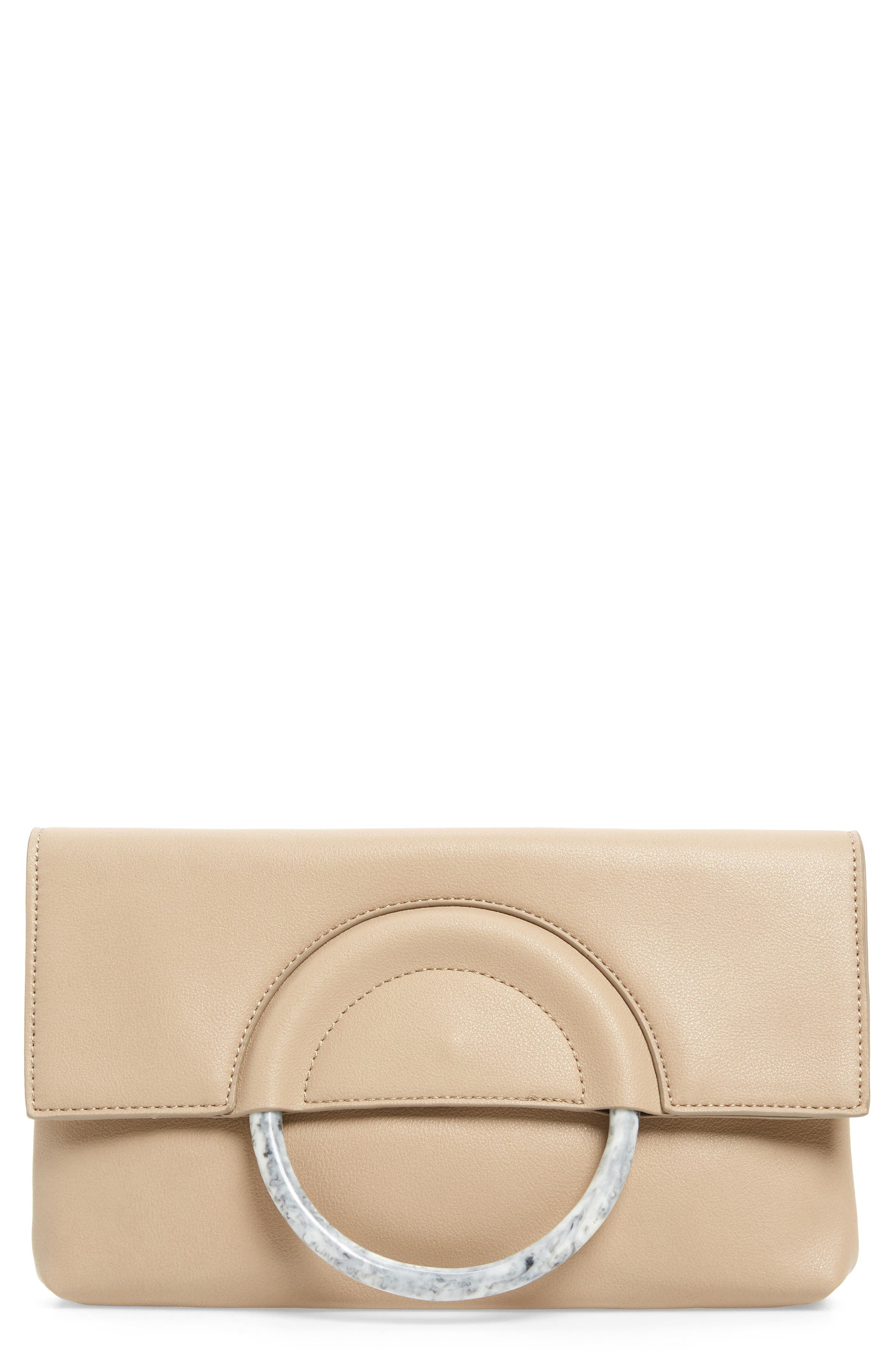 LEITH Resin Handle Clutch, Main, color, TAUPE/ IVORY